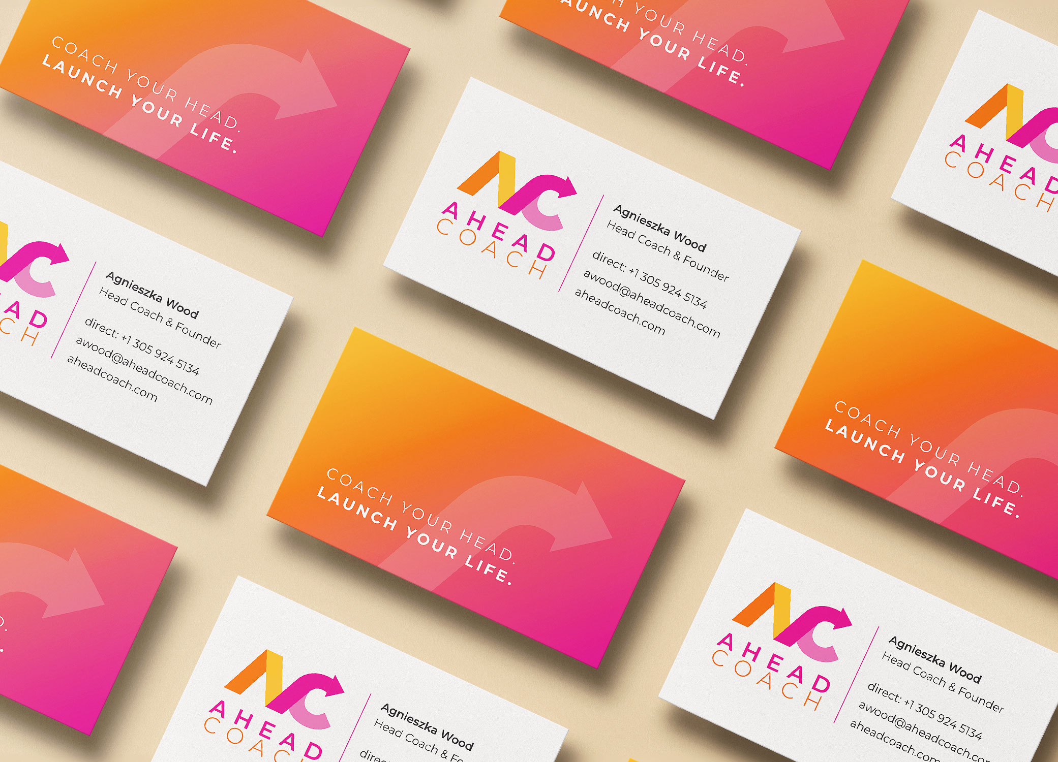 Ahead Coach business cards arranged in diagonal rows to show front and back view.