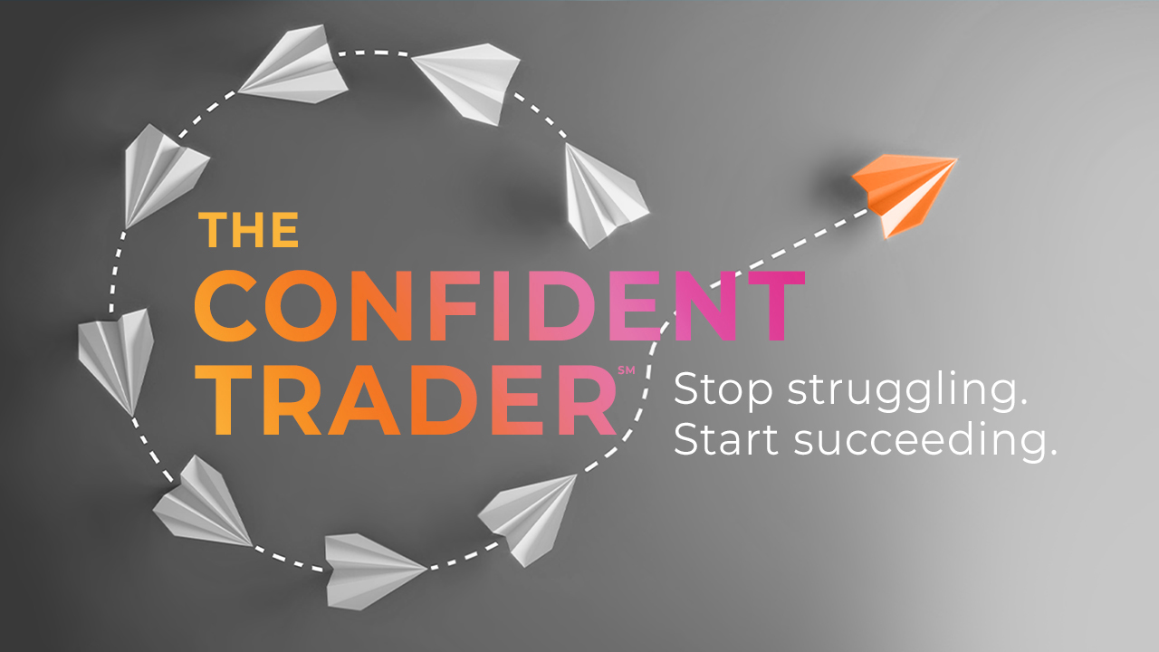 Ahead Coach business course brand design with flying paper airplanes and The Confident Trader quote.