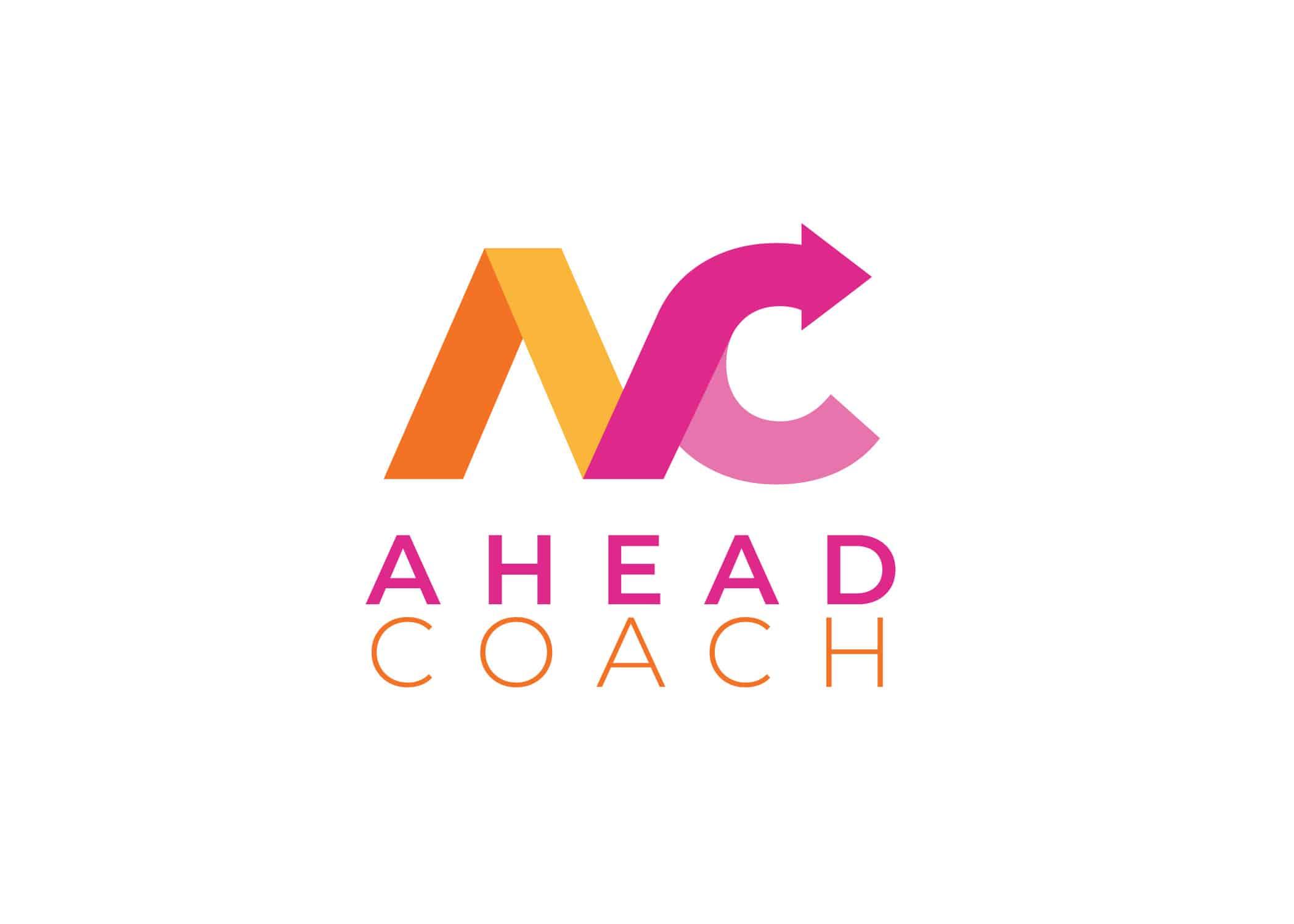 Ahead Coach logo design in vivid orange and magenta. Created mood boards to inspire this logo design.
