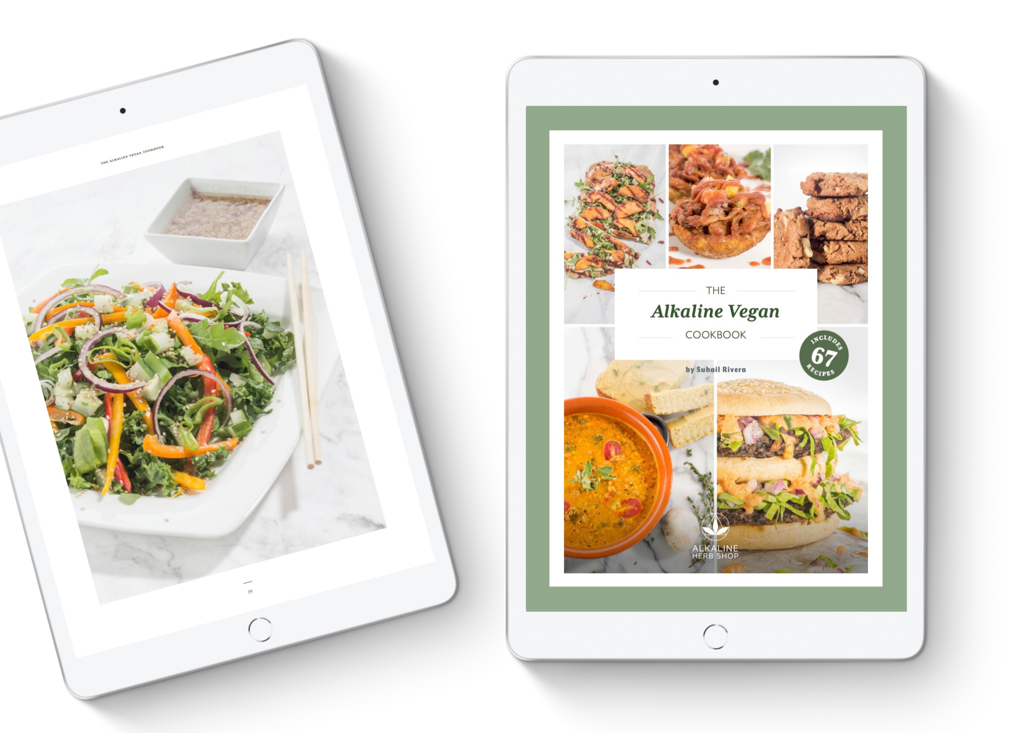 Alkaline Herb Shop's vegan cookbook highlighting eight recipe pages in ipad mockup set at an angle against grey backdrop.