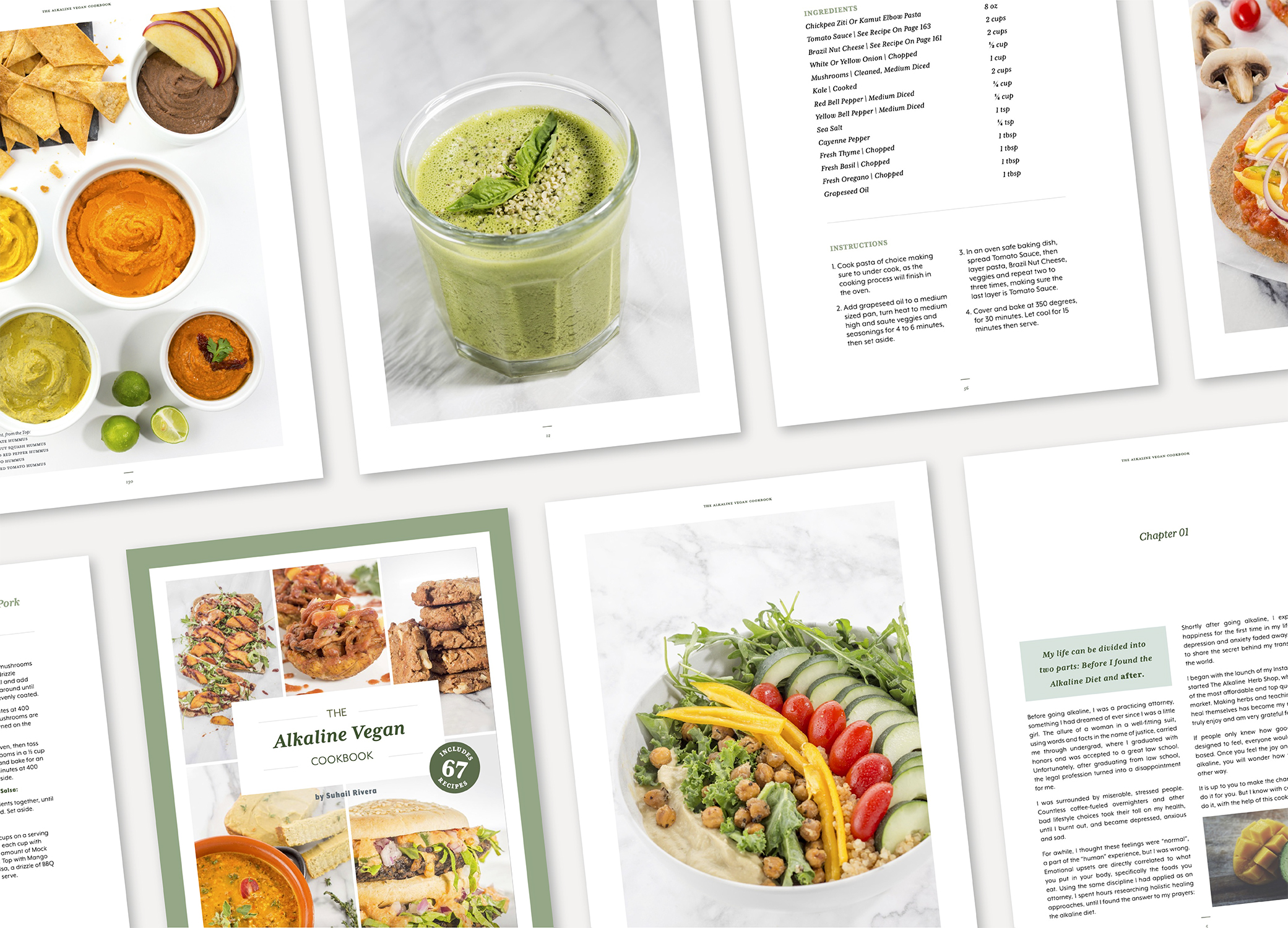 Alkaline Vegan Cookbook branded design in green and white showing 8 recipe pages.