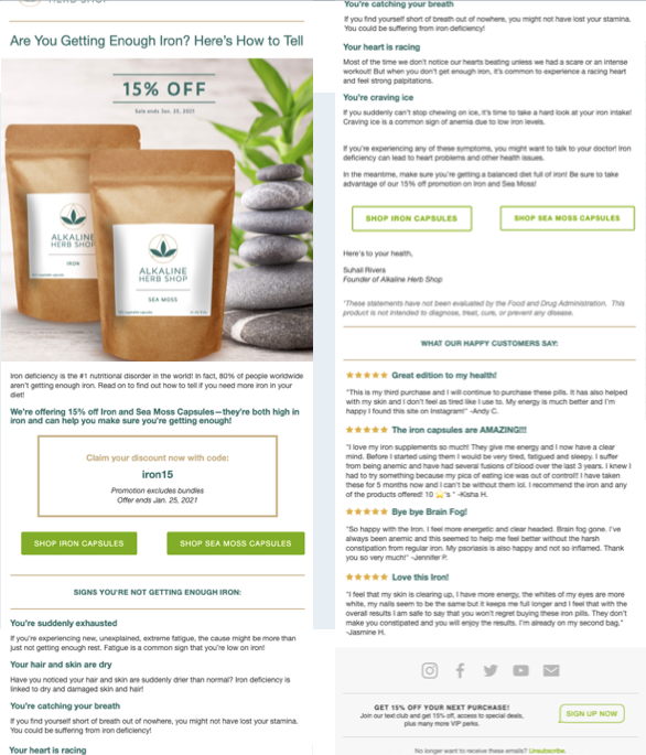 Alkaline Herb Shop email marketing campaign screenshot sharing important health tips and promoting Iron and Sea Moss.