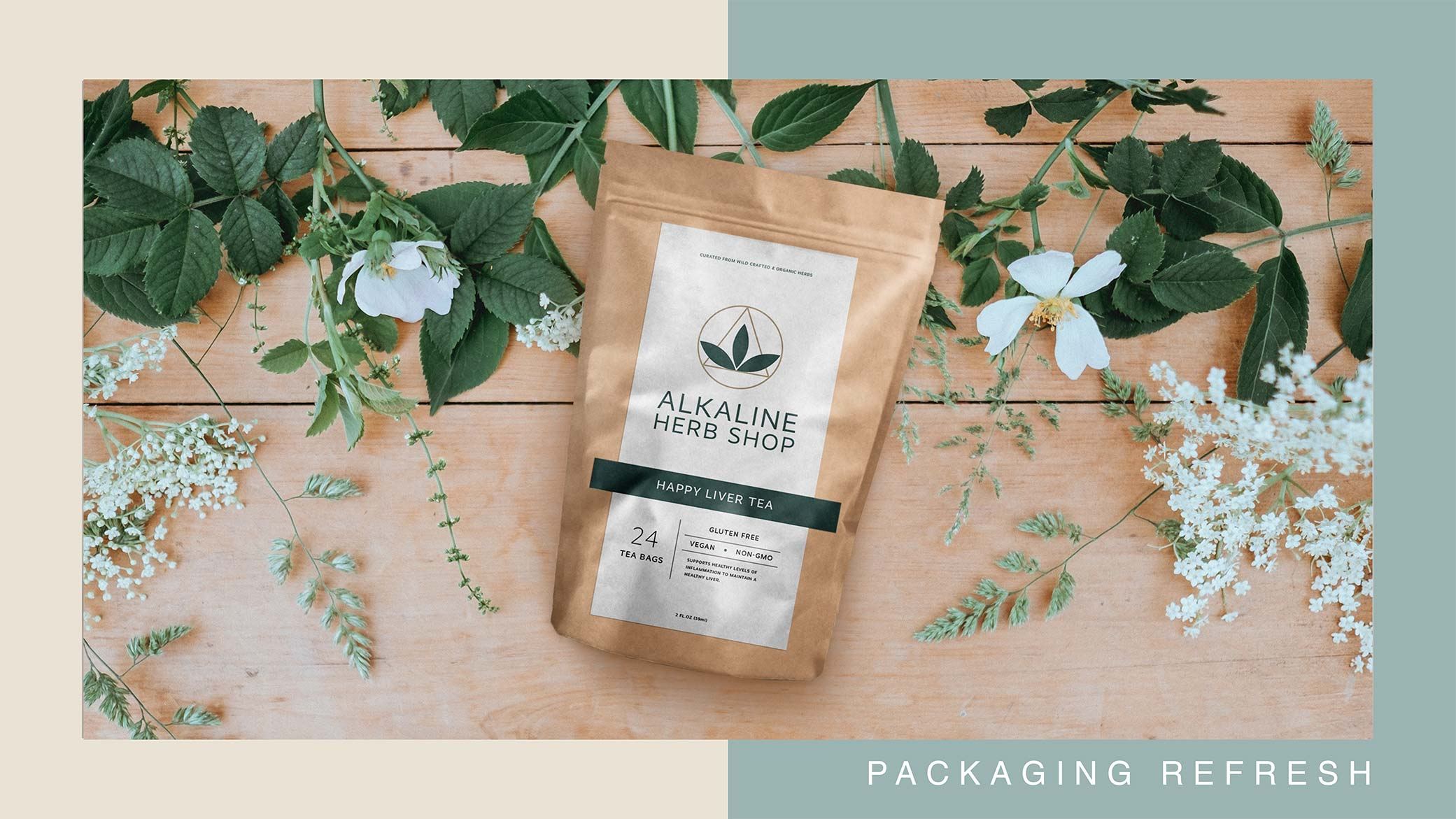 Alkaline Herb Shop supplement brand package design for Happy Liver Tea with accent leaves and flowers.