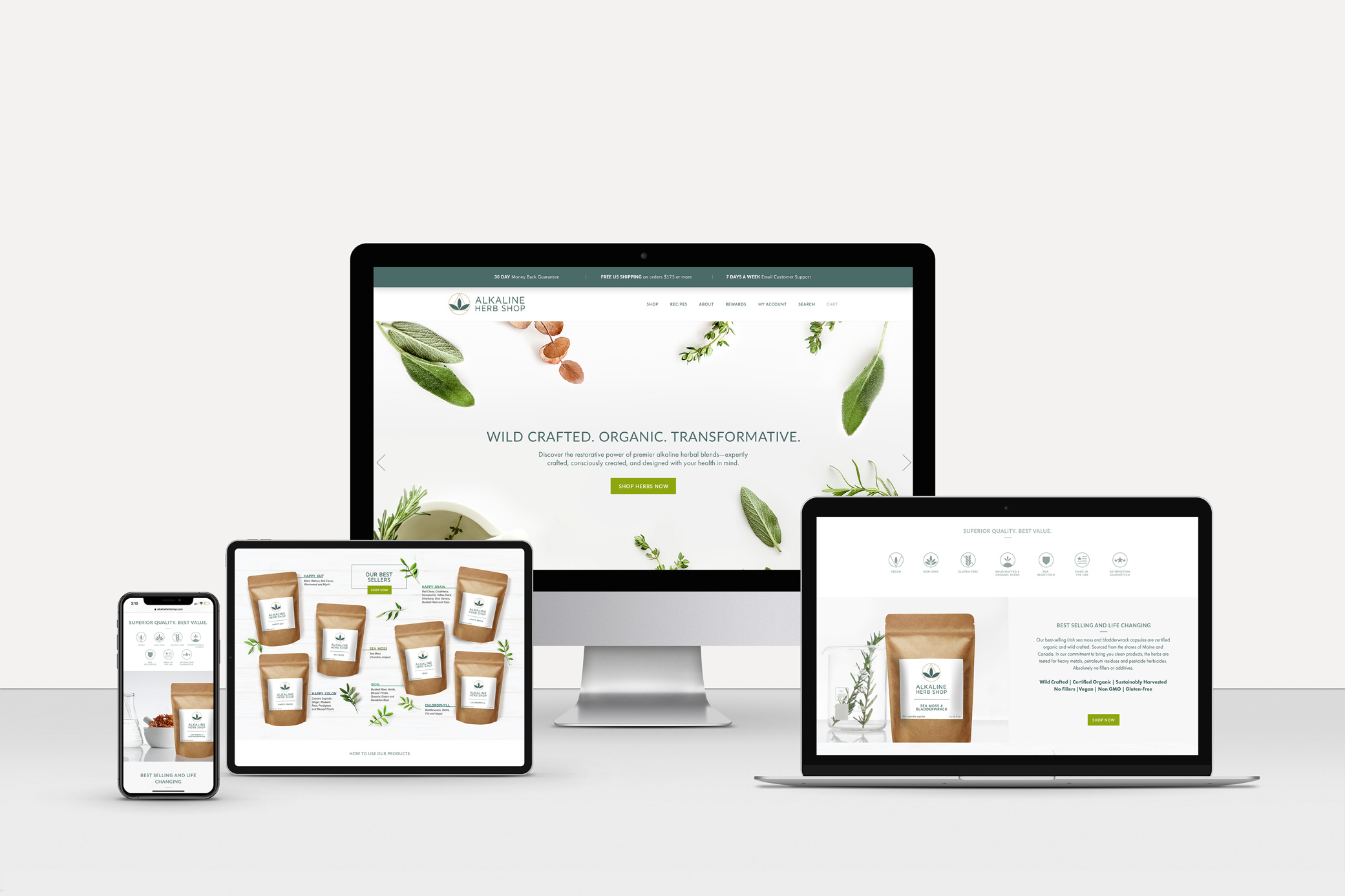 Alkaline Herb Shop supplement branding and clean website design with and images of fresh herbs.