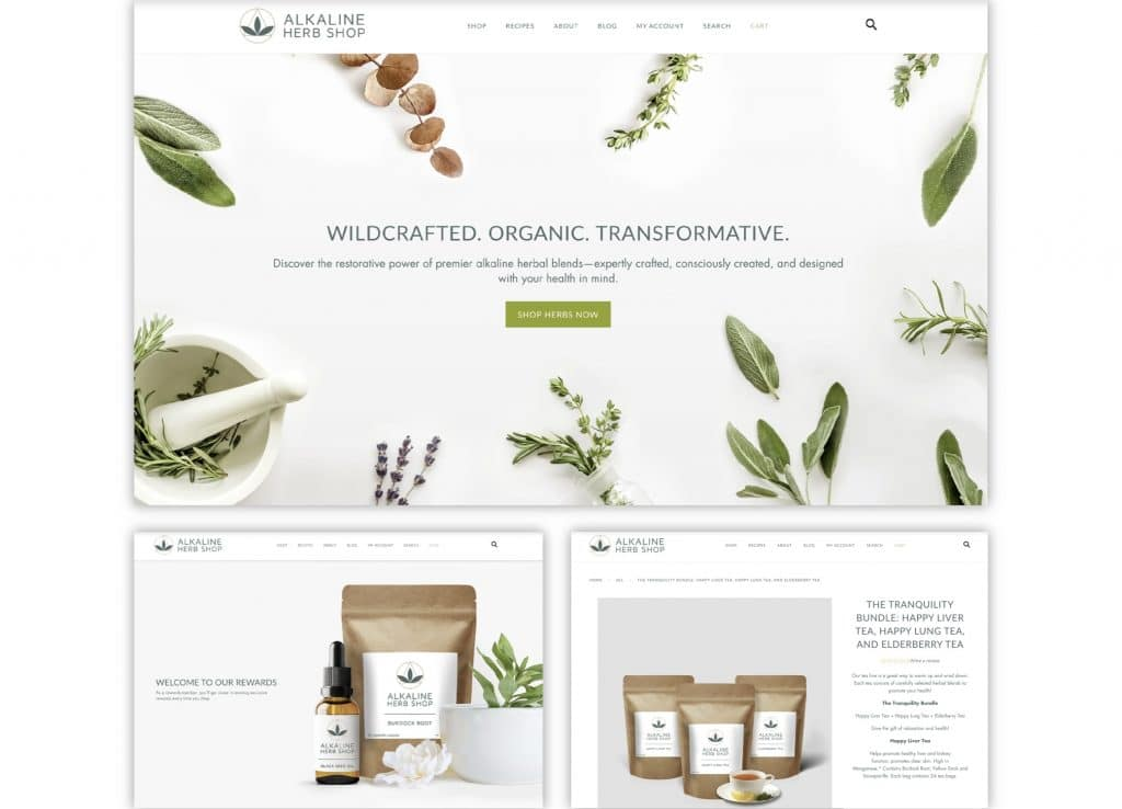 Alkaline Herb Shop supplement brand clean website design with and images of fresh herbs.