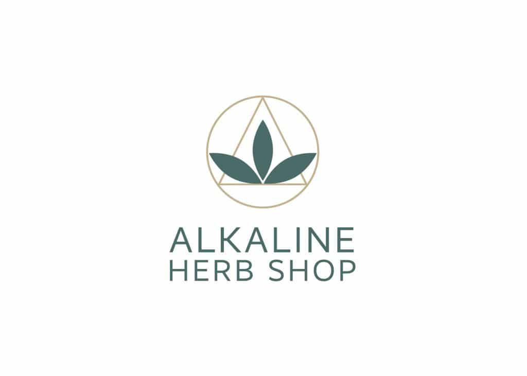 Supplement brand design for Alkaline Herb Shop, showing green logo in modern apothecary style.