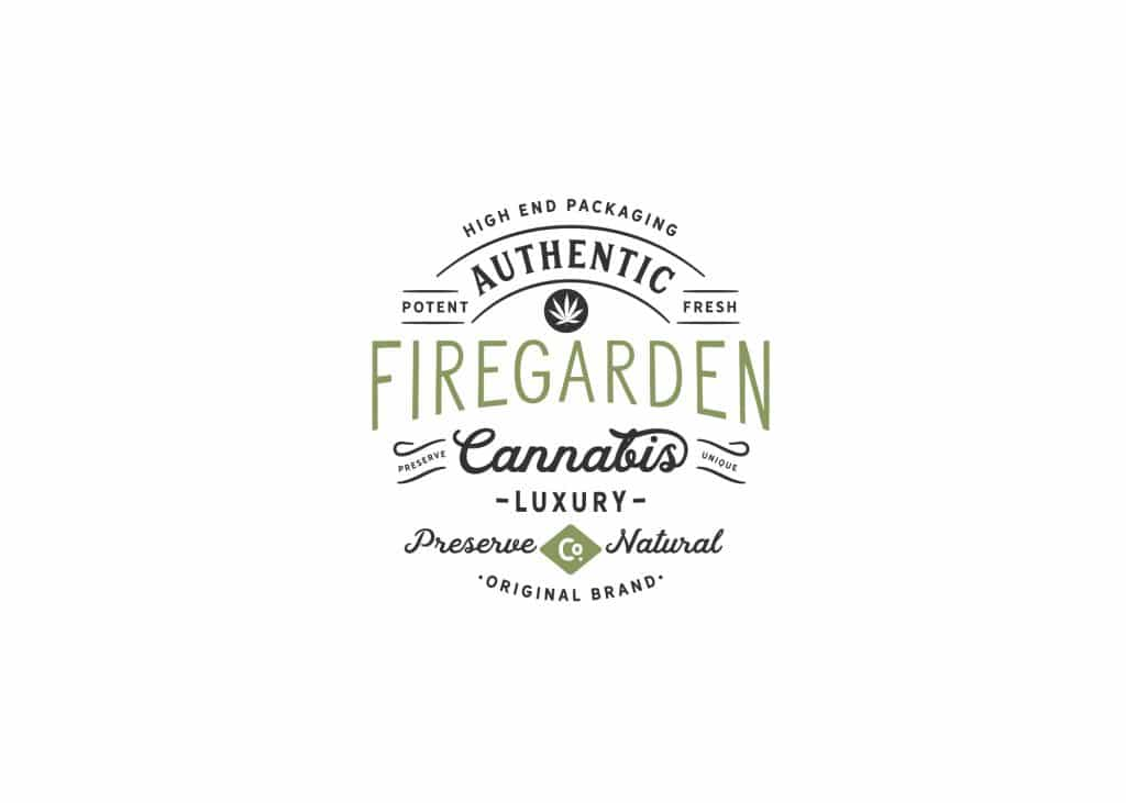 FireGarden retro logo with cannabis icon and lined banners highlighting keywords like fresh, potent, and authentic.