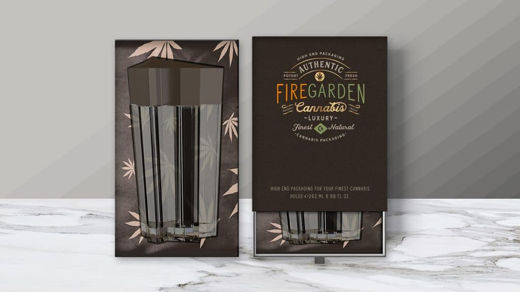 FireGarden package design, in warm shades of gold, green, orange, and brown with front and inside view showing container.