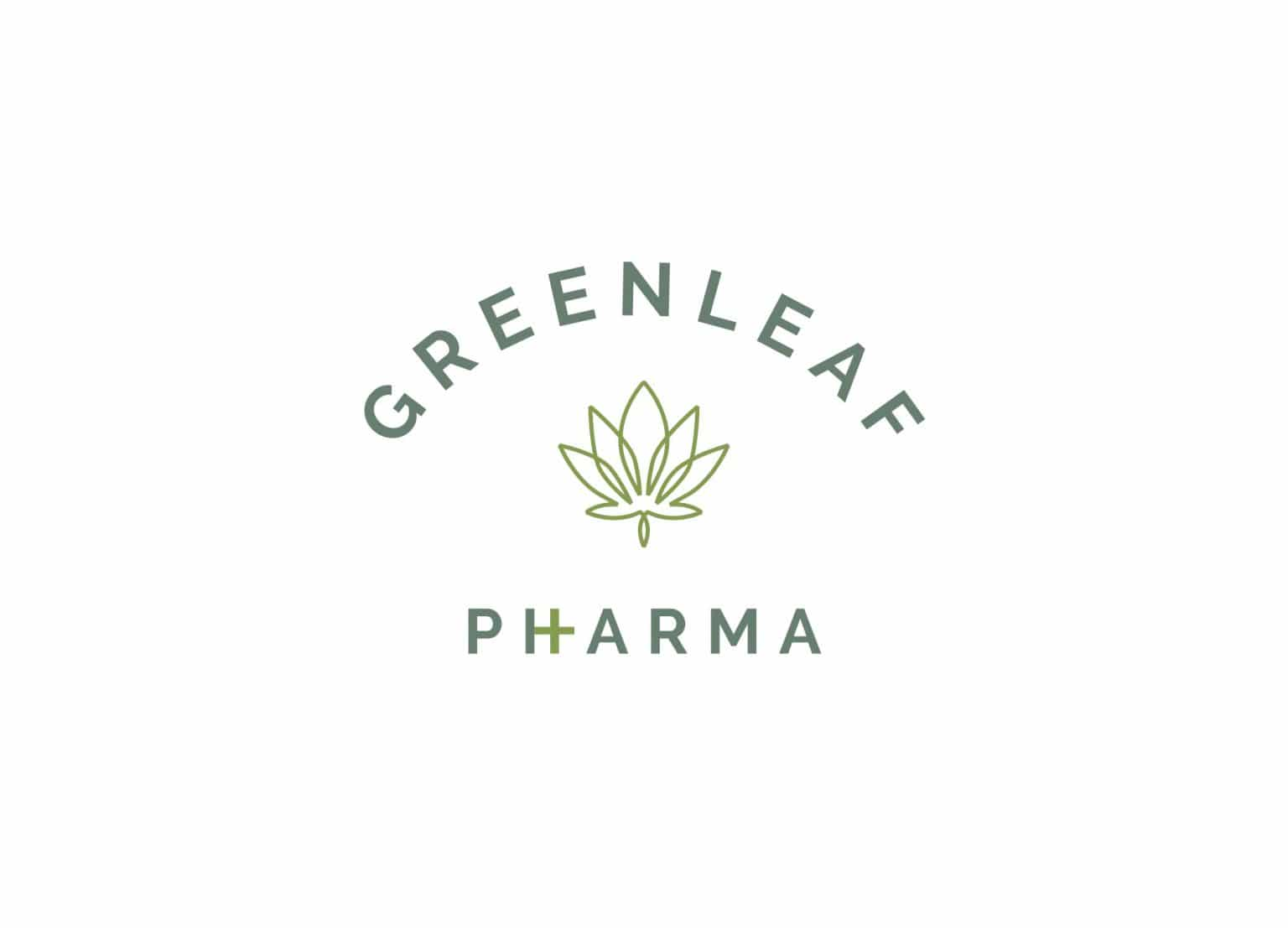 GreenLeaf Pharma medical cannabis branding retro apothecary logo design with marijuana leaf icon and sans serif font.