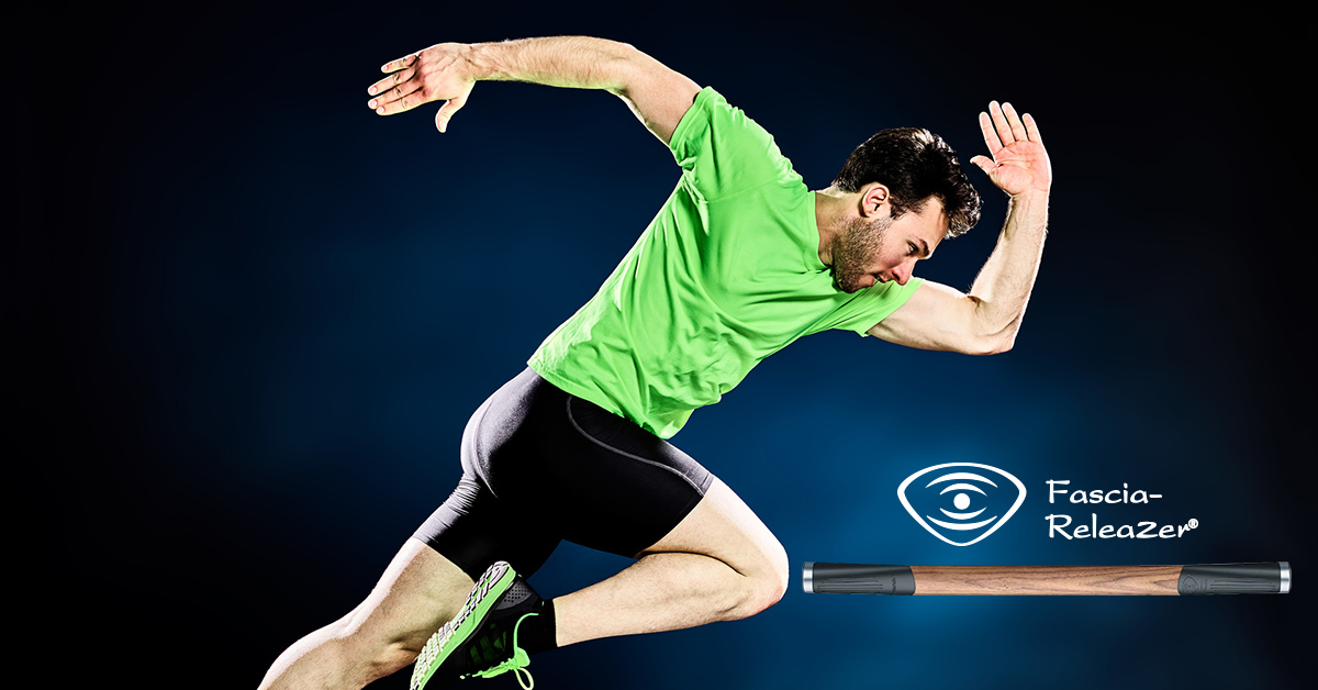 Beurer Facebook ad design of a man running in motion wearing a bold neon green shirt against a dark background.