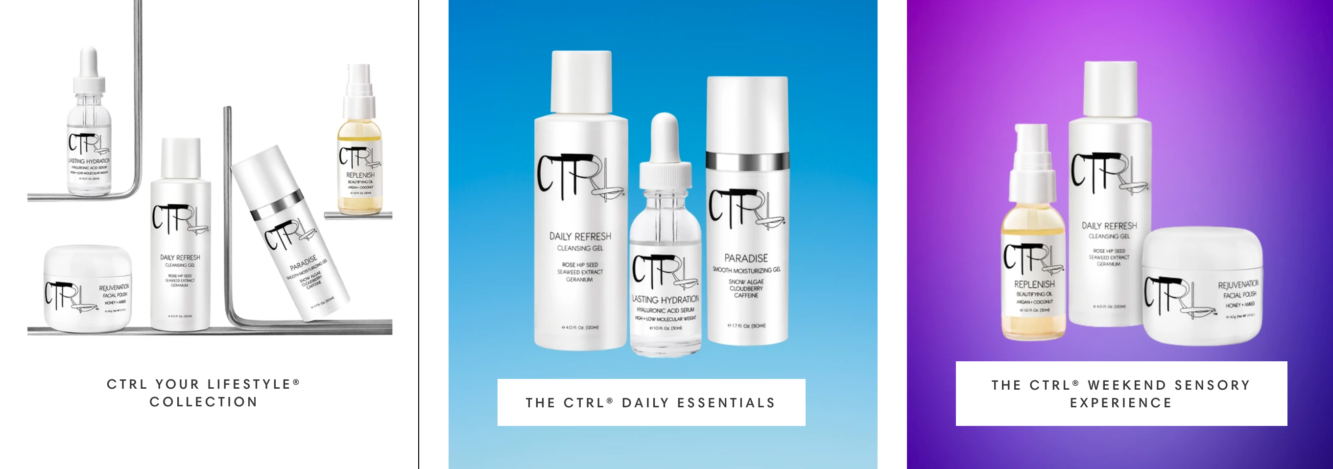 CTRL Cosmetics website design and images before the redesign showcasing different products against different colored backdrops.