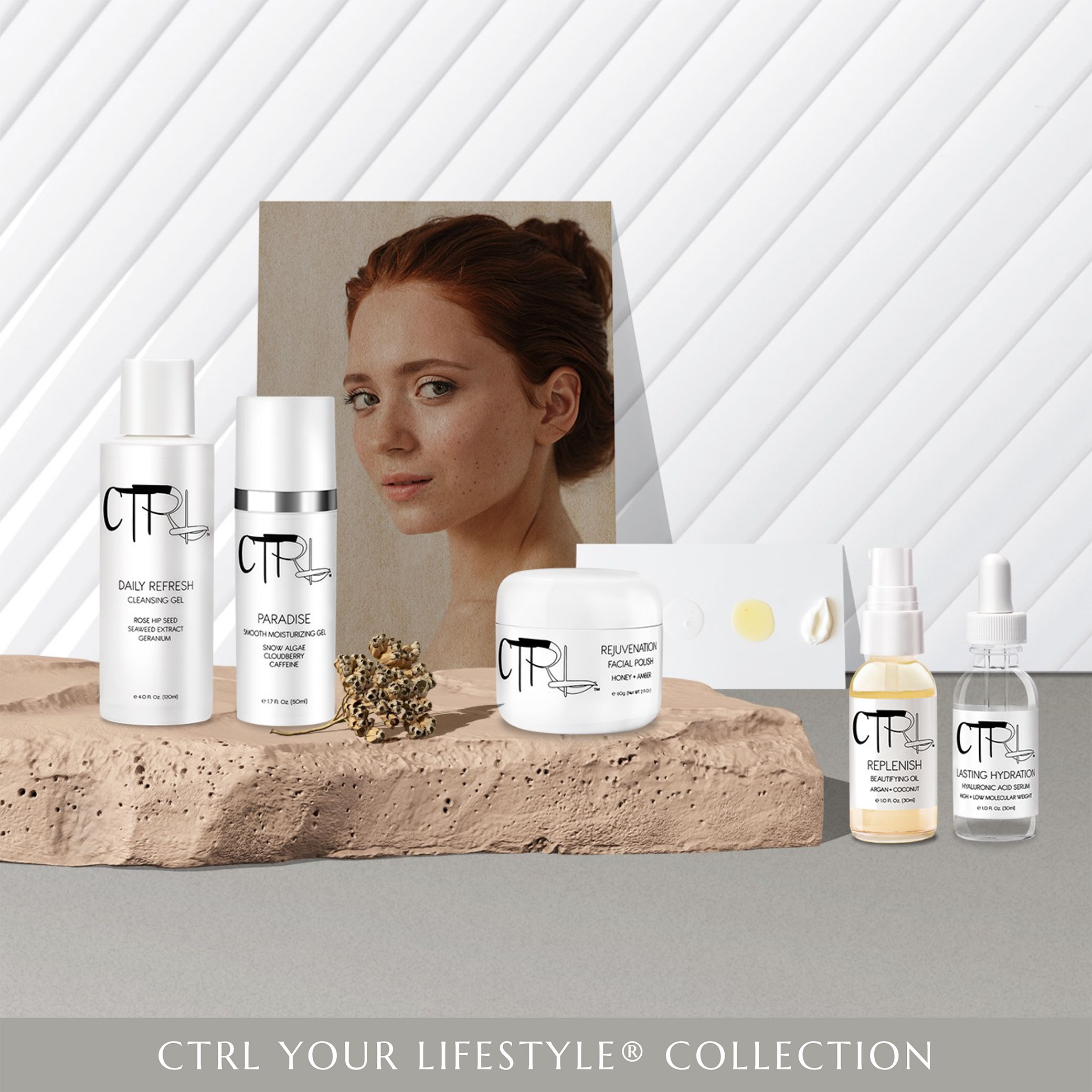 CTRL Cosmetics website design image showcasing Your Lifestyle Collection skincare products and elements for decoration.