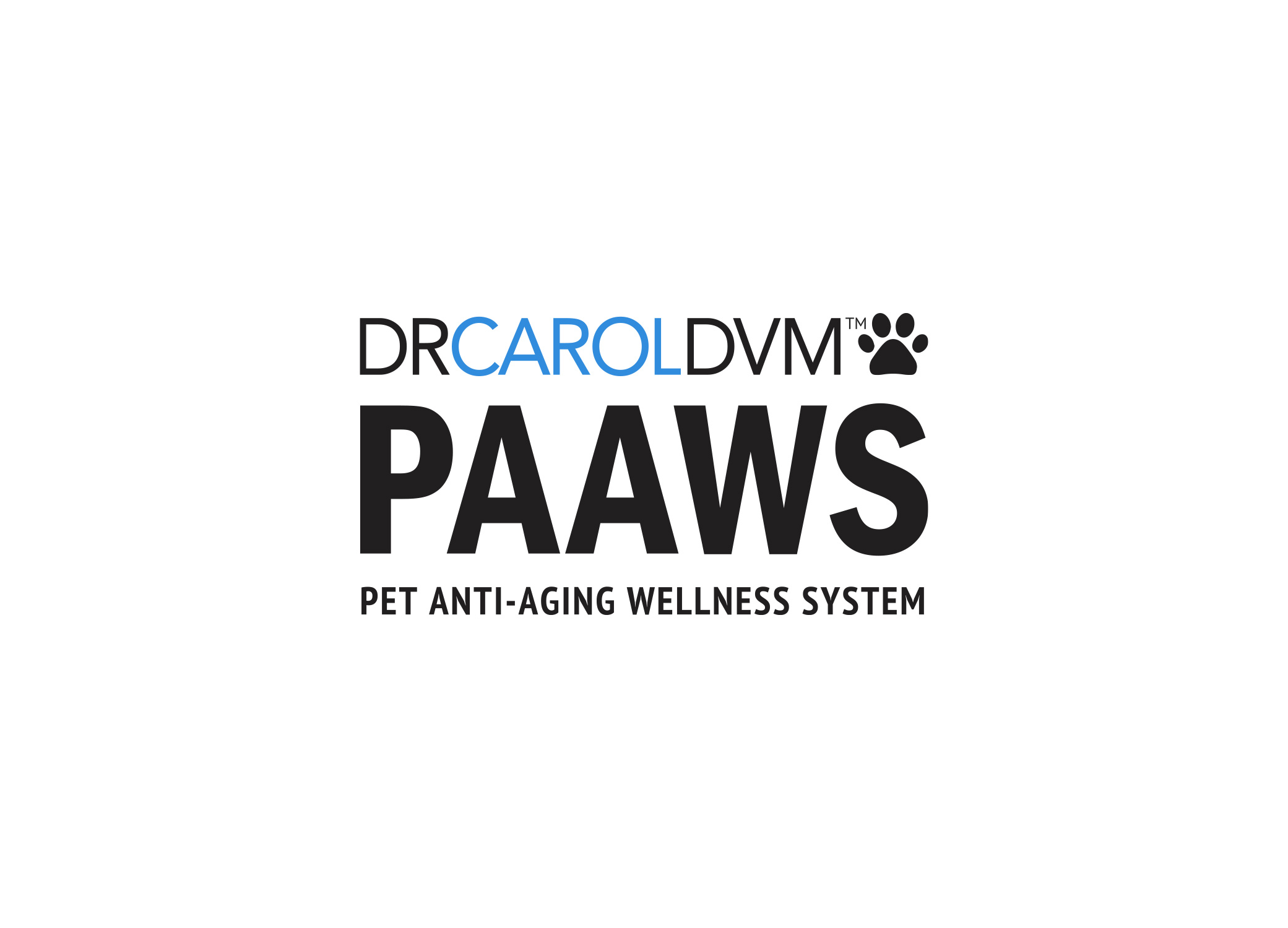 Dr. Carol DVM clinical but friendly logo design for PAAWS pet supplement brand in black and blue with paw icon.