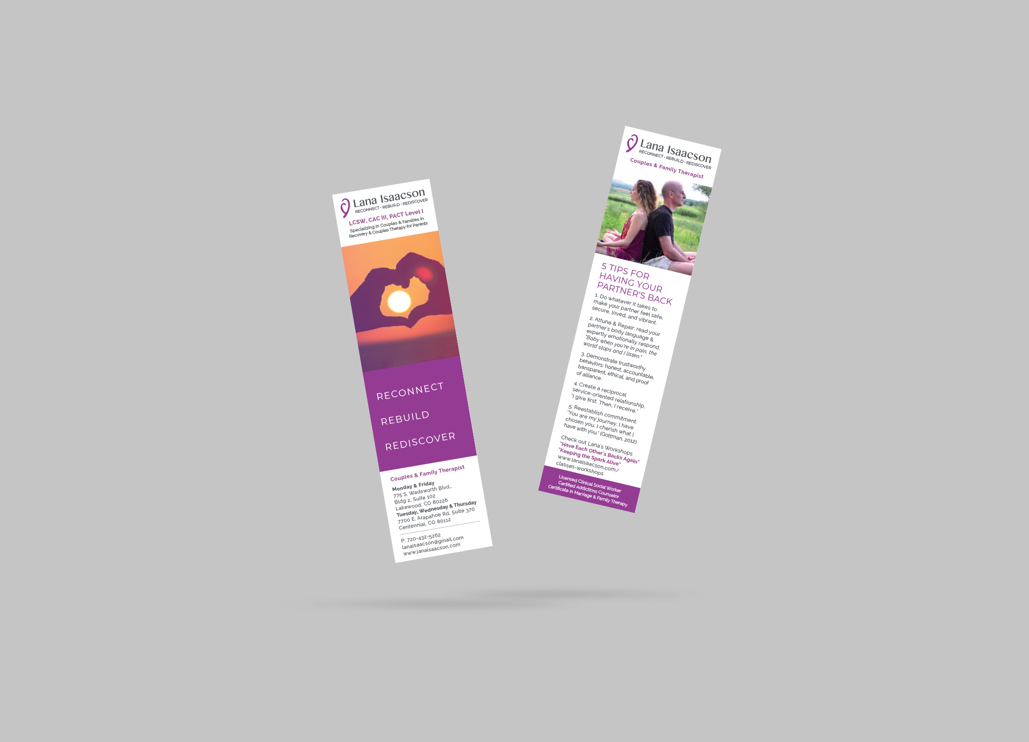 Lana Isaacson bookmarks with logo, brand images, tips, and location of service.