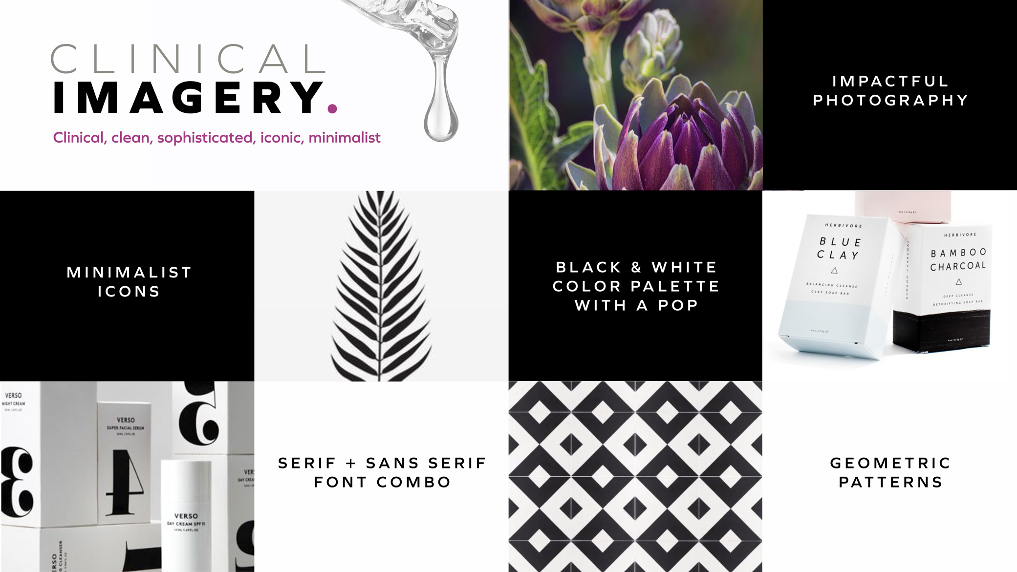 Alkaline Herb Shop mood board slide showcasing clinical imagery, fonts, color selections, textures, patterns, and icons.