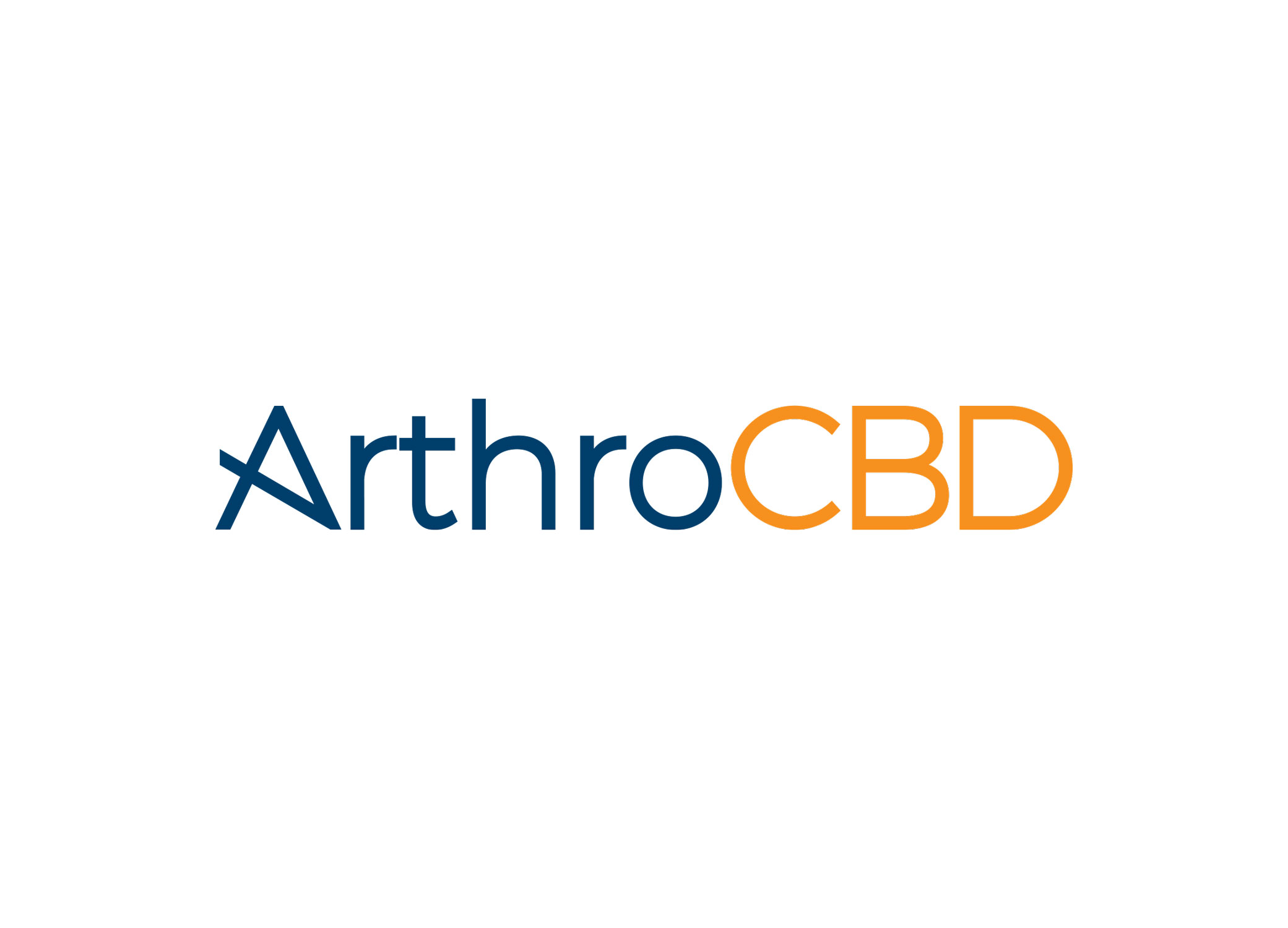 """ArthroCBD logo design with diagonal angle across the """"A"""" and navy blue and orange typography."""