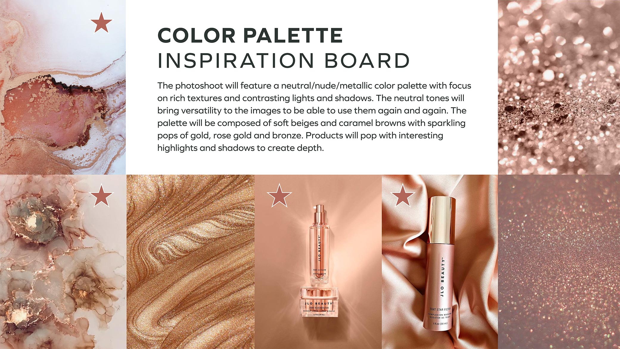 CTRL Cosmetics color palette inspiration board showcasing tones, textures and images.