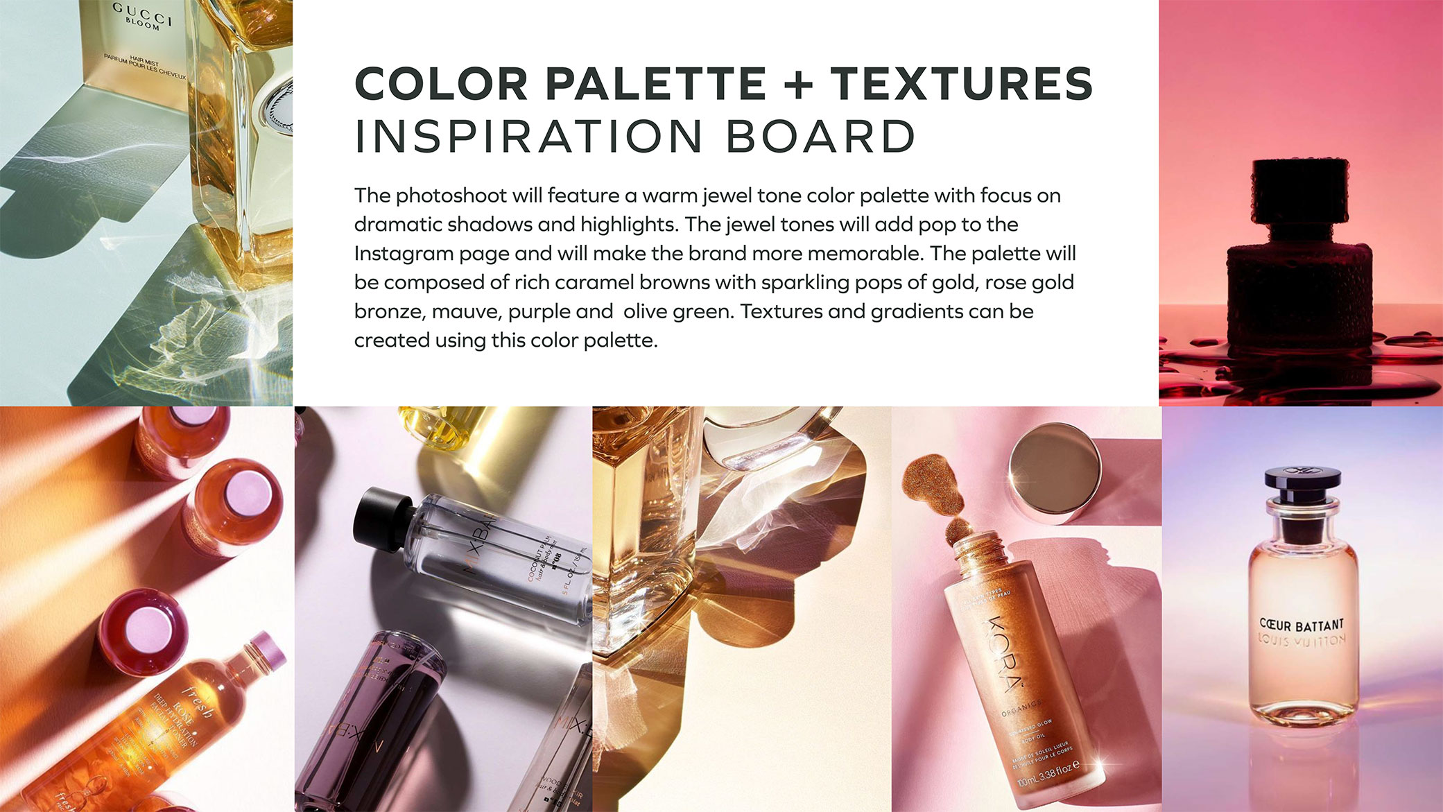 CTRL Cosmetics color palette and textures inspiration board showcasing different images with shadows and tones in gold and rose gold jewel tones.