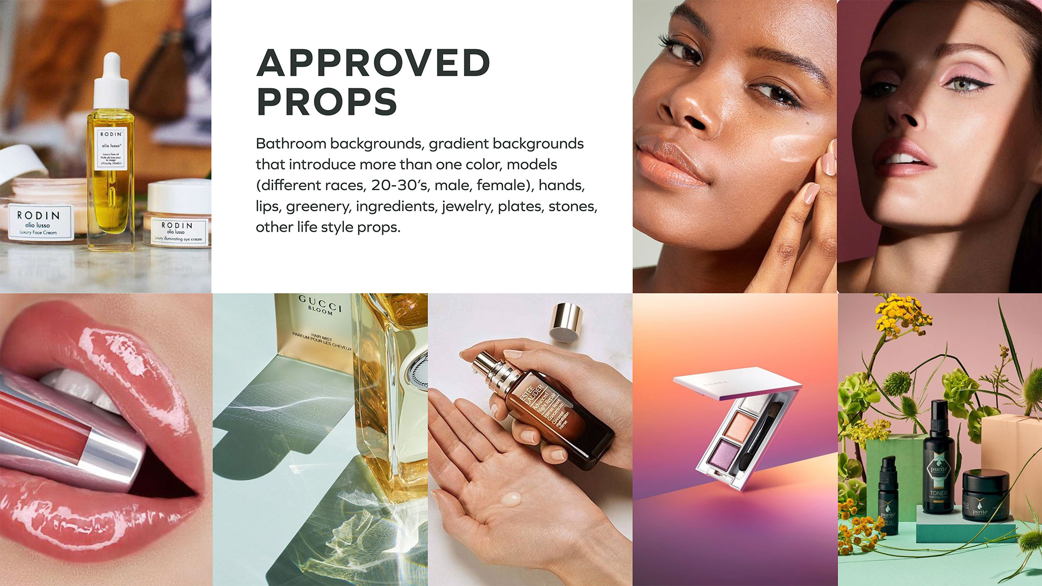 CTRL Cosmetics props inspiration board showcasing different types of images with model's hands, lips and backgrounds.
