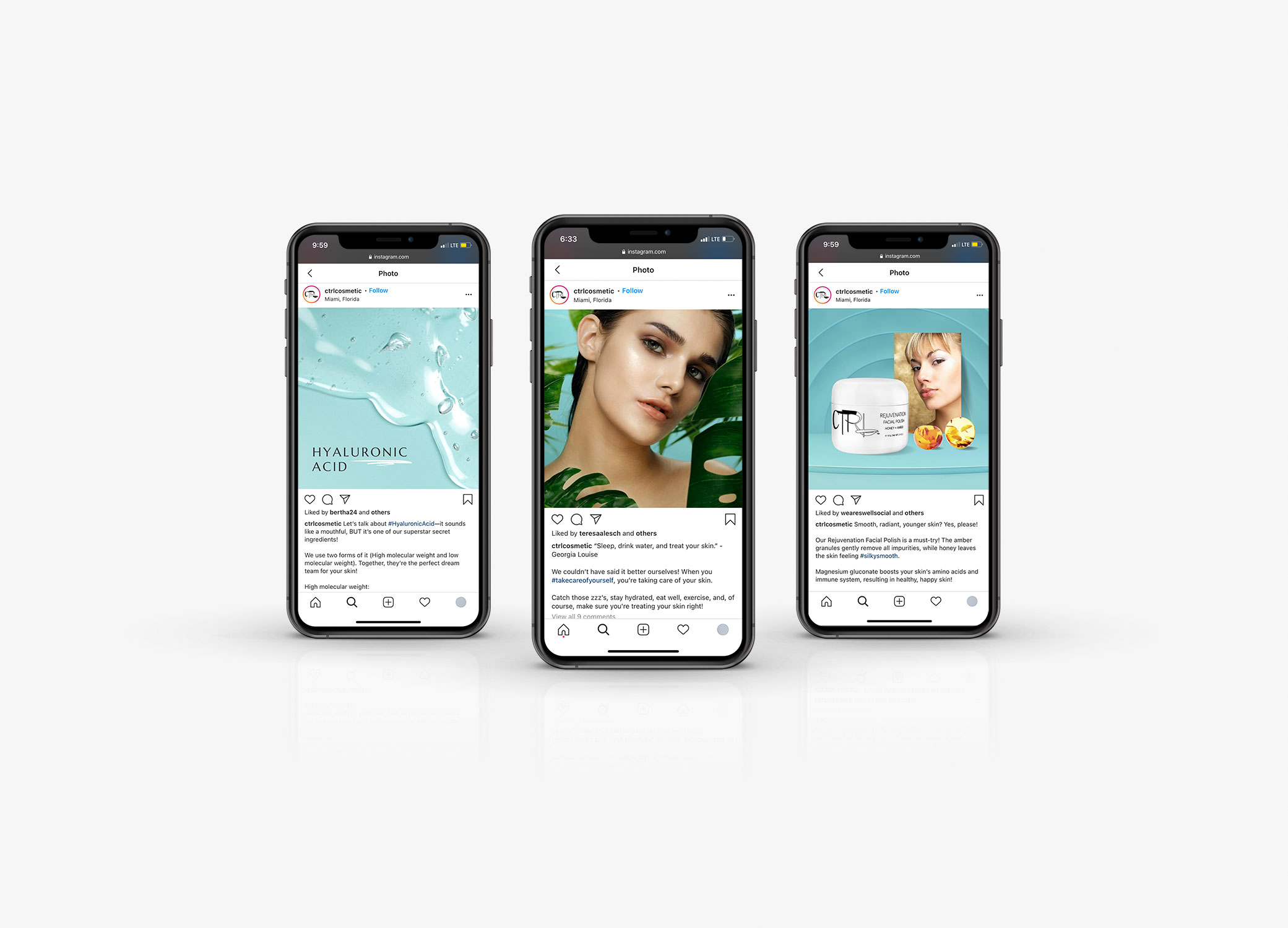CTRL Cosmetics social media images placed in iPhone mockup.