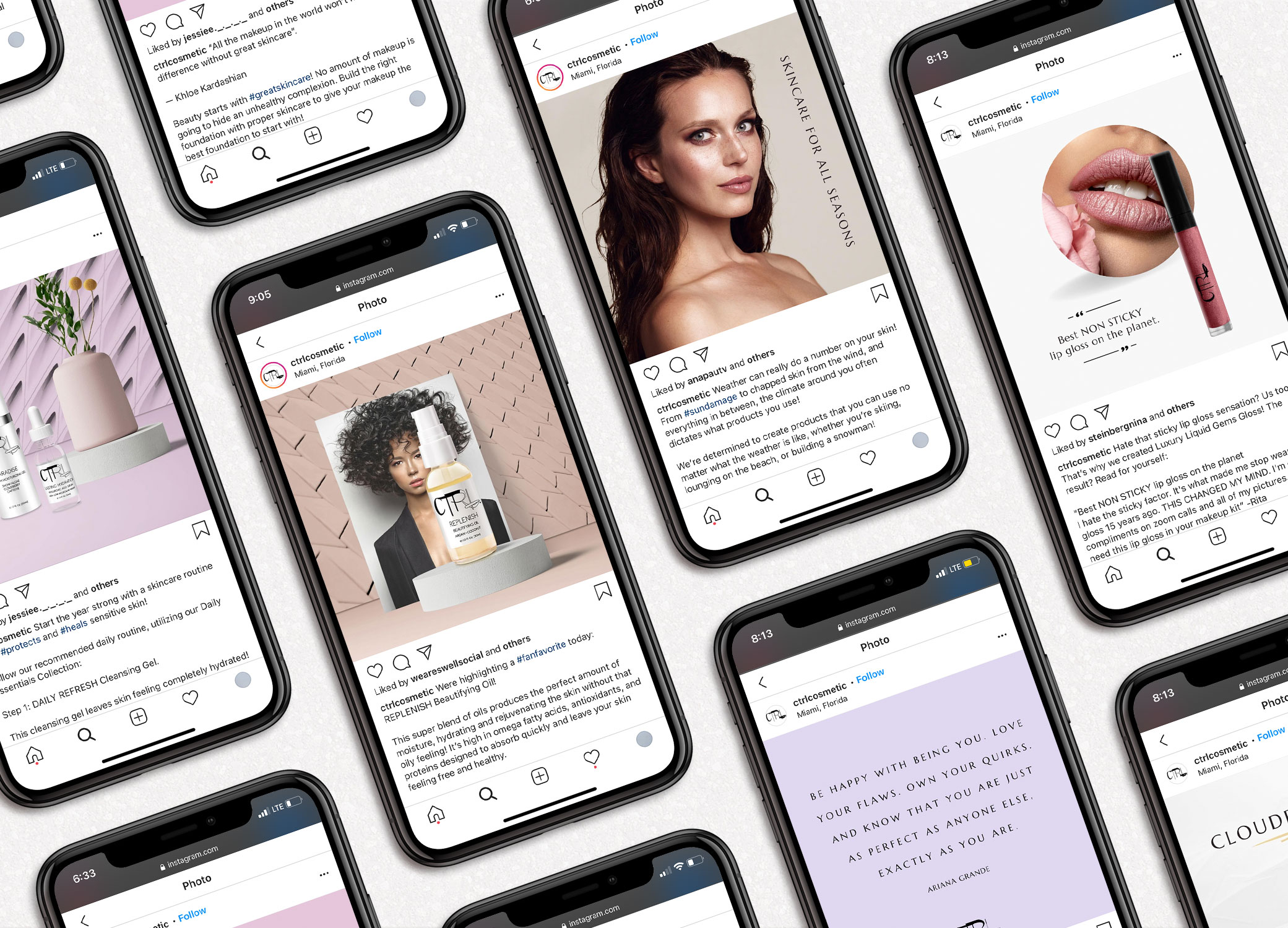 CTRL Cosmetics social media images shown on iPhones displayed in slanted rows against grey backdrop.