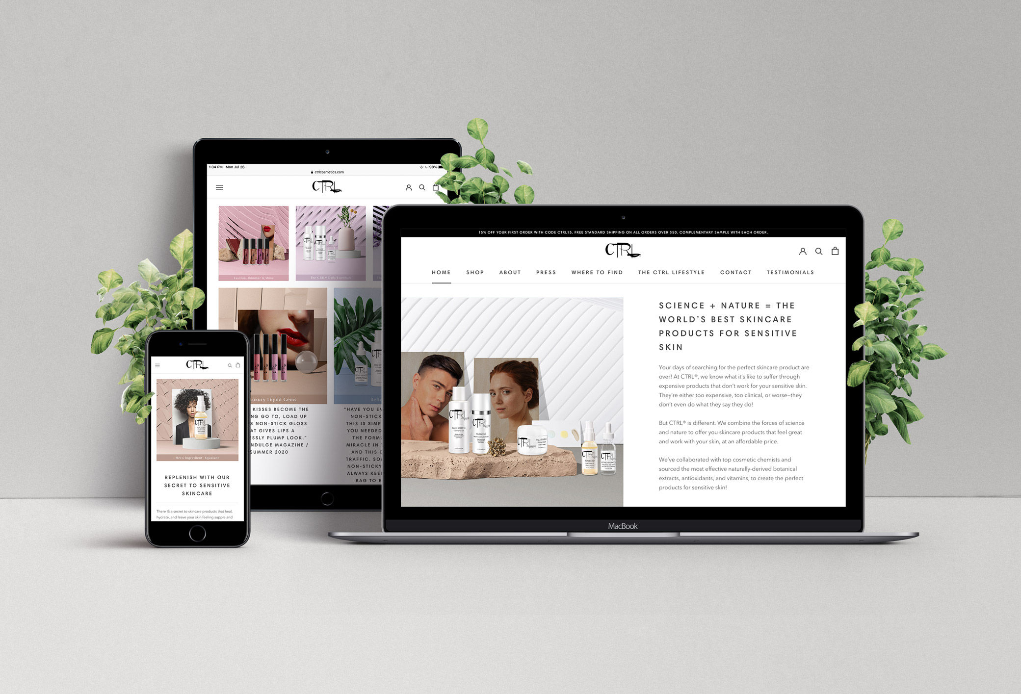 CTRL Cosmetics website featuring different views of their site homepage on an iPad, iMac and iPhone.