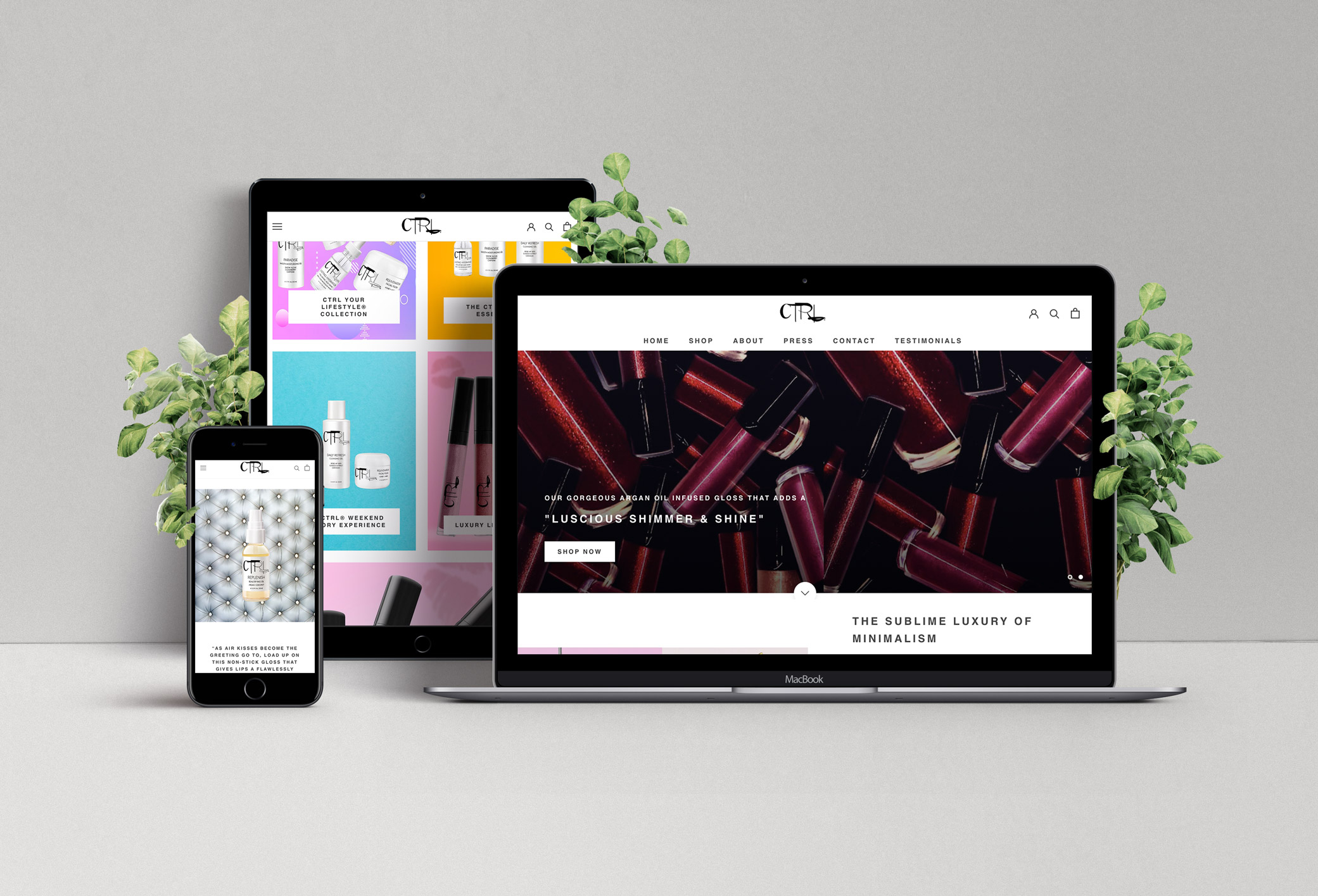 CTRL Cosmetics website before the redesign featuring different views of their site homepage on an iPad, iMac and iPhone.
