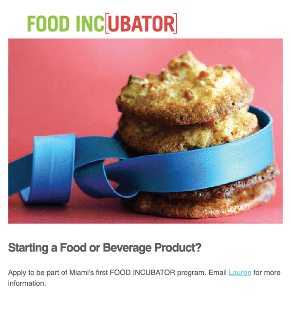 Entrepreneur Minds Academy email newsletter promoting upcoming events for a food incubator with vibrant photographs and descriptions.