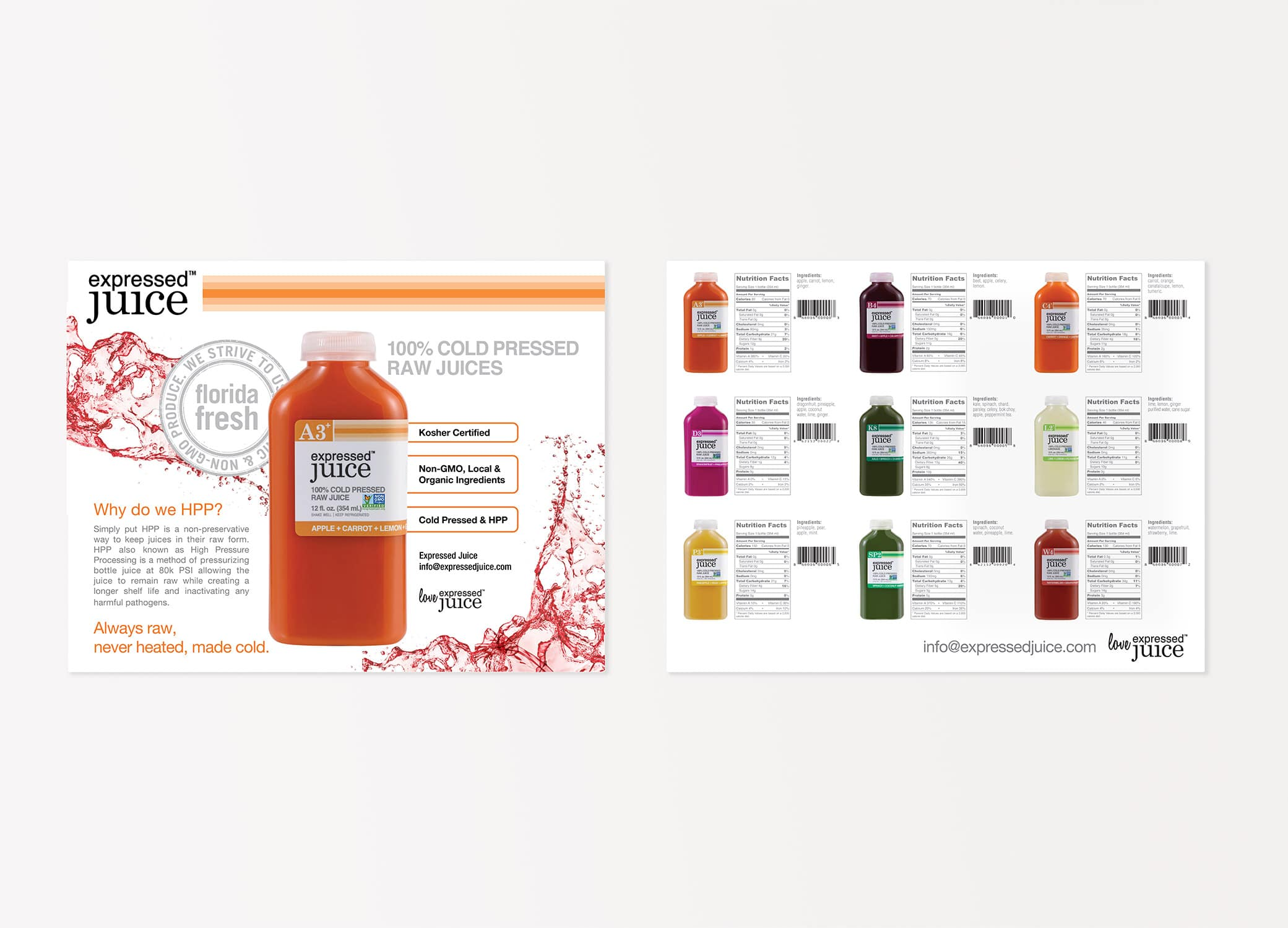 Expressed Juice sell sheets showcasing the value of their cold pressed juices, information about different flavors and nutrition benefits.