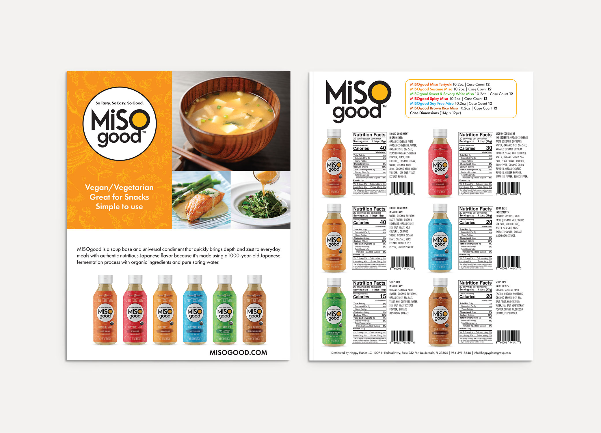 MiSOgood sell sheets front and back view showing nutritional information for each flavor in the line of products.