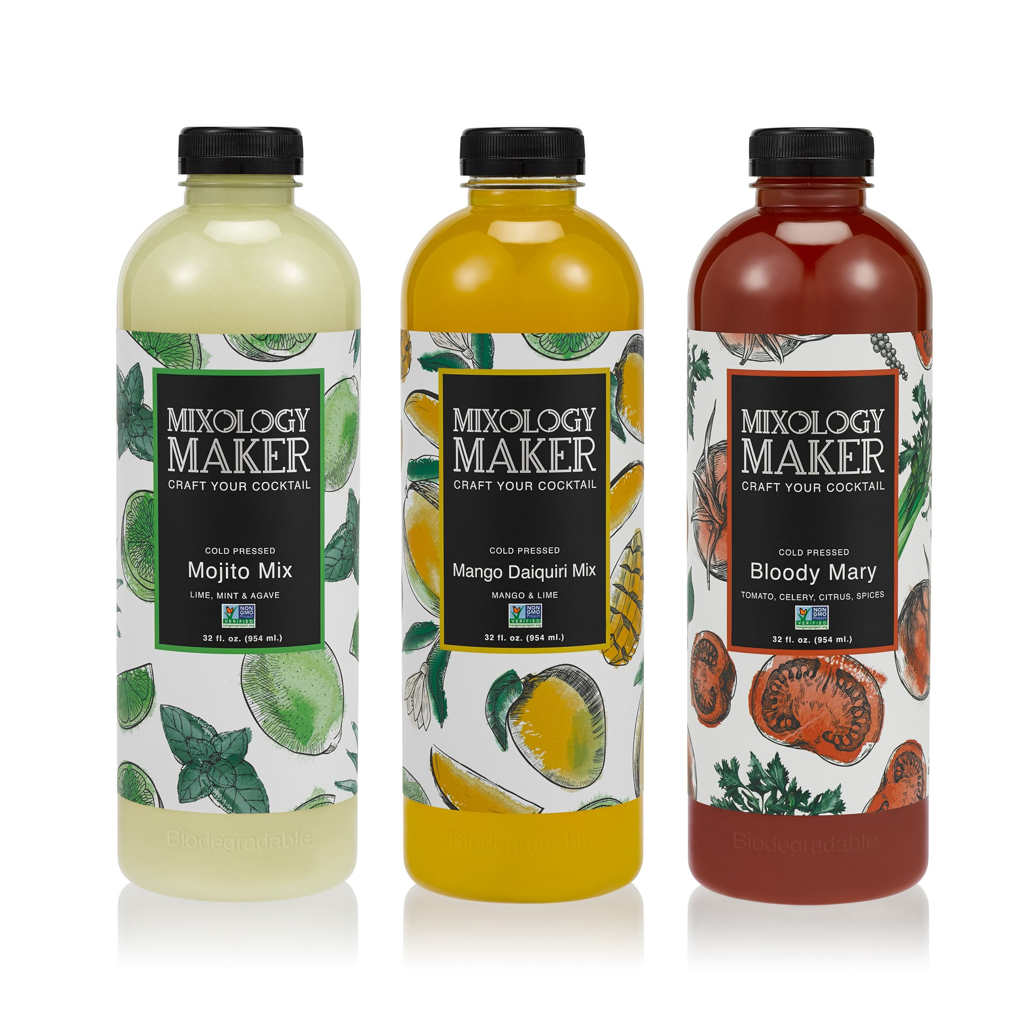 Mixology Maker package product design showing row of 3 flavors with sleek logo and hand drawn fruits on each label.