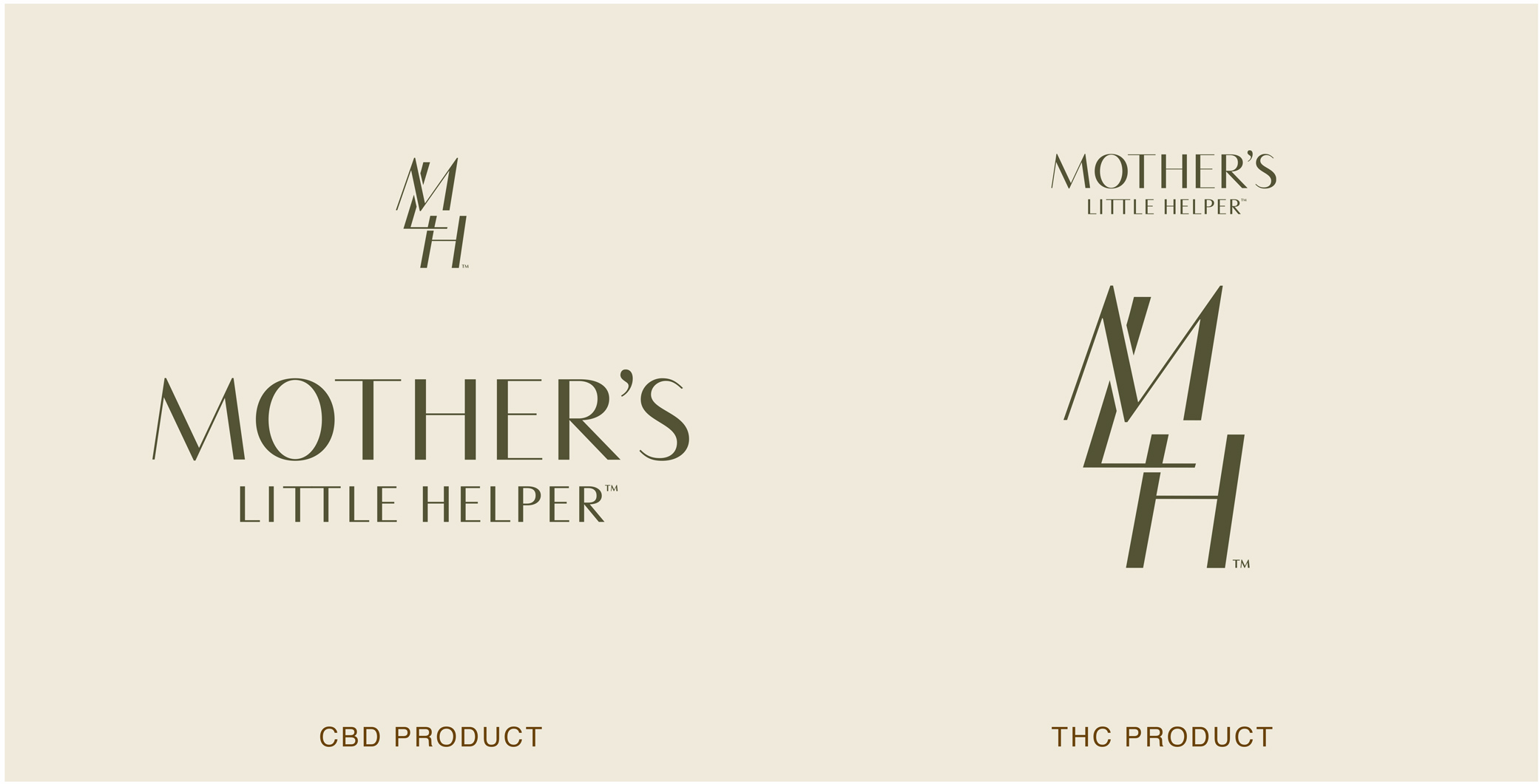 Mother's Little Helper logo design for CBD capsules and THC product line with monogram symbol and logo typography.