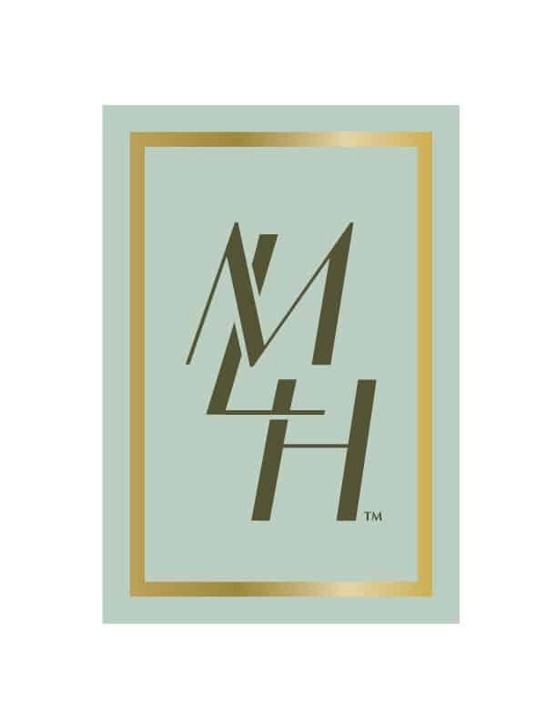 """Mother's Little Helper logo design with angled monogram """"MLH,"""" light blue backsplash and gold border."""