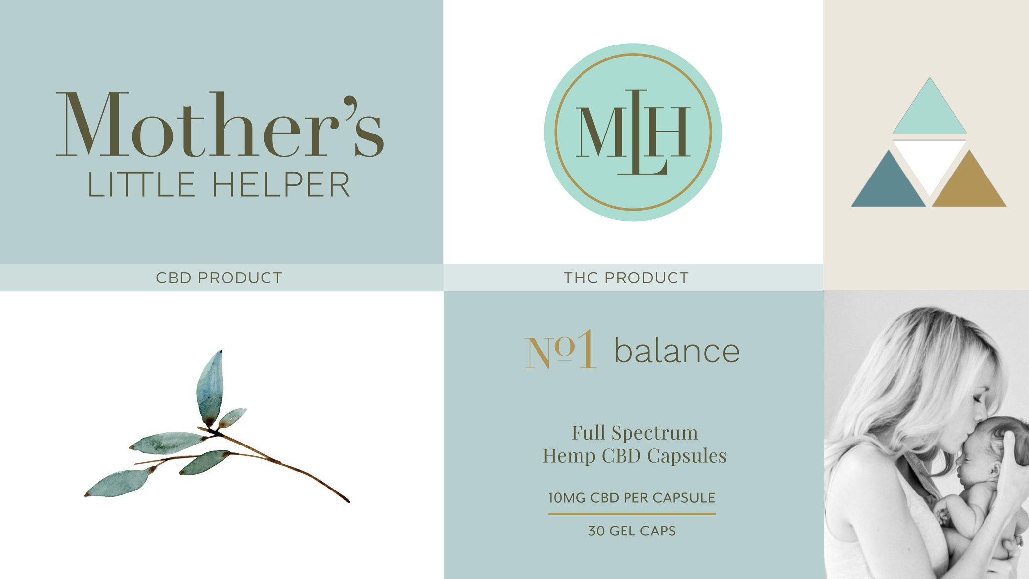 Mother's Little Helper design inspiration in soft tones of blue and brown with a botanical, clincal direction for the brand.