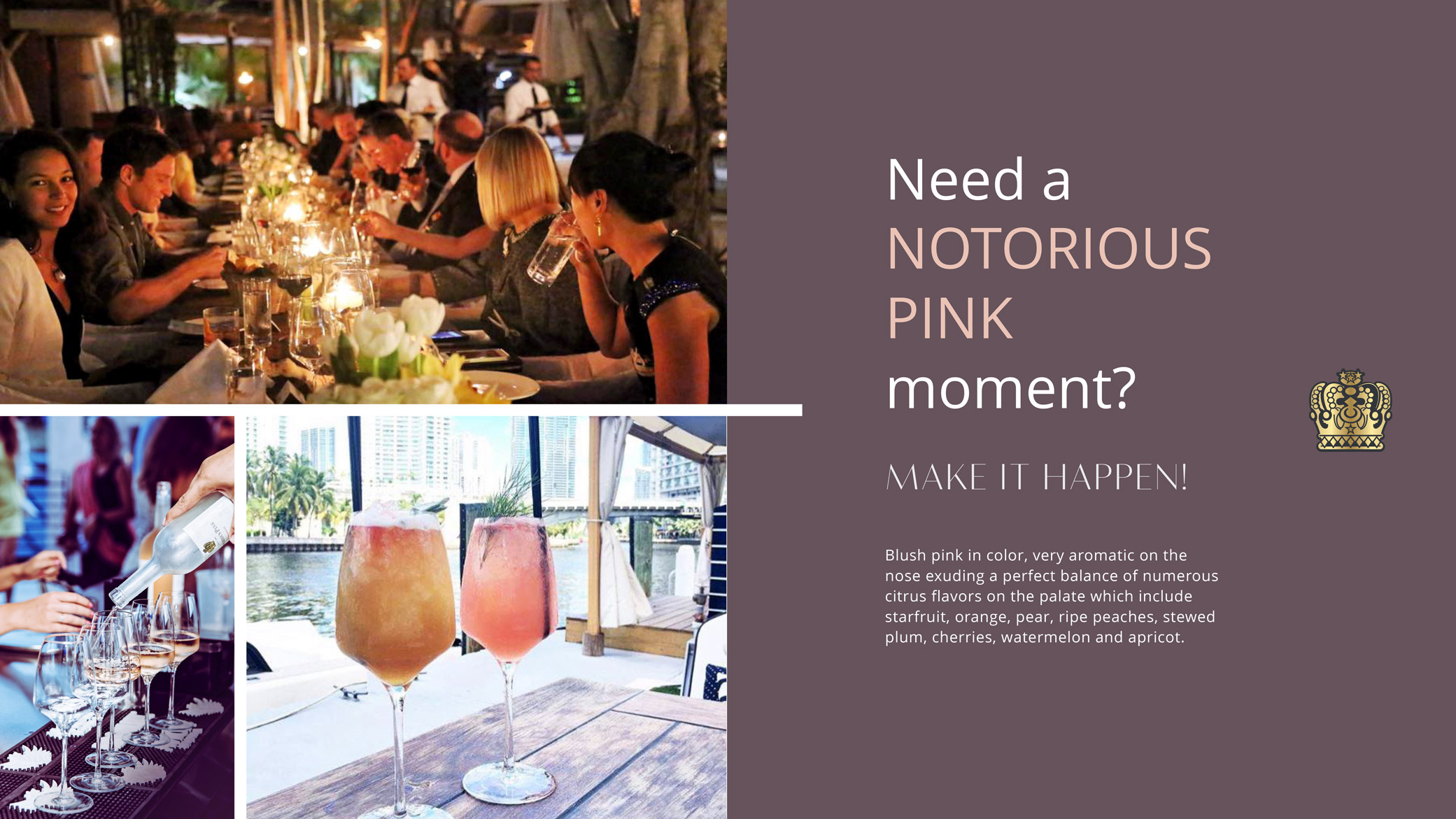 Notorious Pink 'Infinite Possibilities' campaign with images of a dinner party, cocktails, and an excerpt about the event.