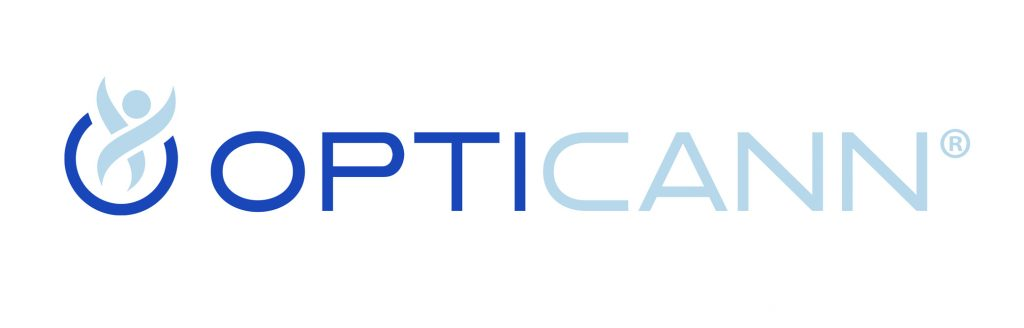 """OptiCann final logo design with dark blue font and """"O"""" icon symbolizing flexibility and athleticism."""