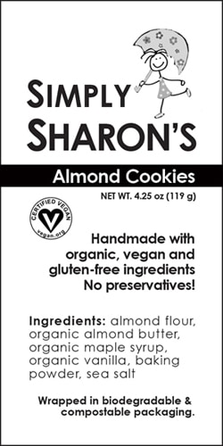 Simply Sharon's cookie package design label before the redesign showing the ingredients, logo, and type of packaging.