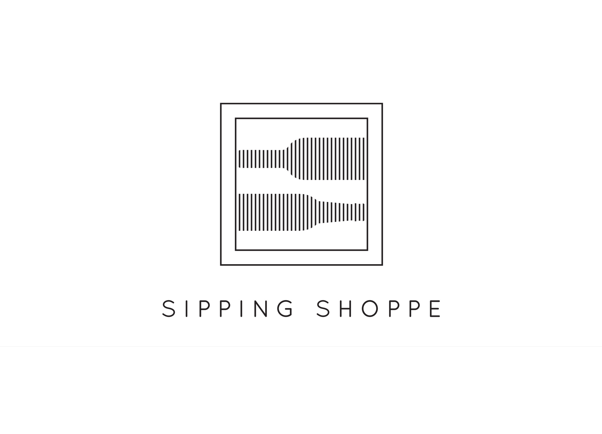 Sipping Shoppe black and white logo design featuring striped wine bottle icons in box frame outline.