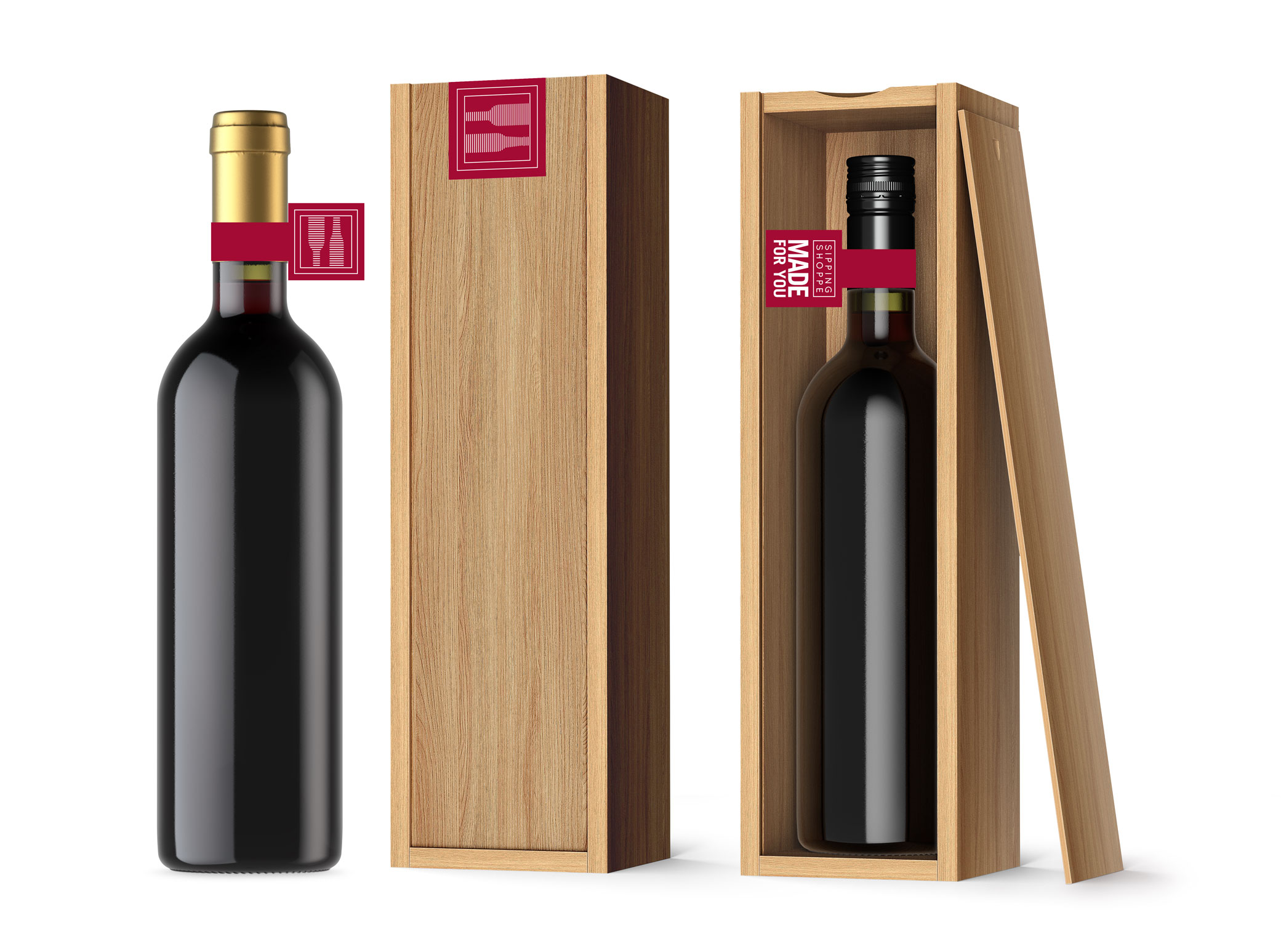 Sipping Shoppe wine package design showing customizable wooden box with burgundy hangtags and the tagline: Made For You.