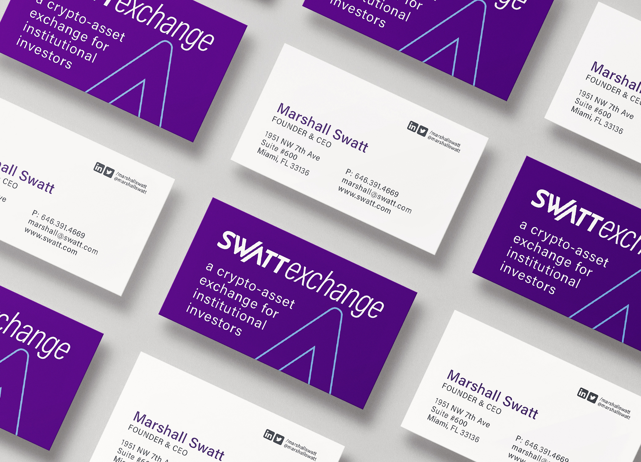 Swatt Exchange purple and white business cards arranged in diagonal rows to show front and back.