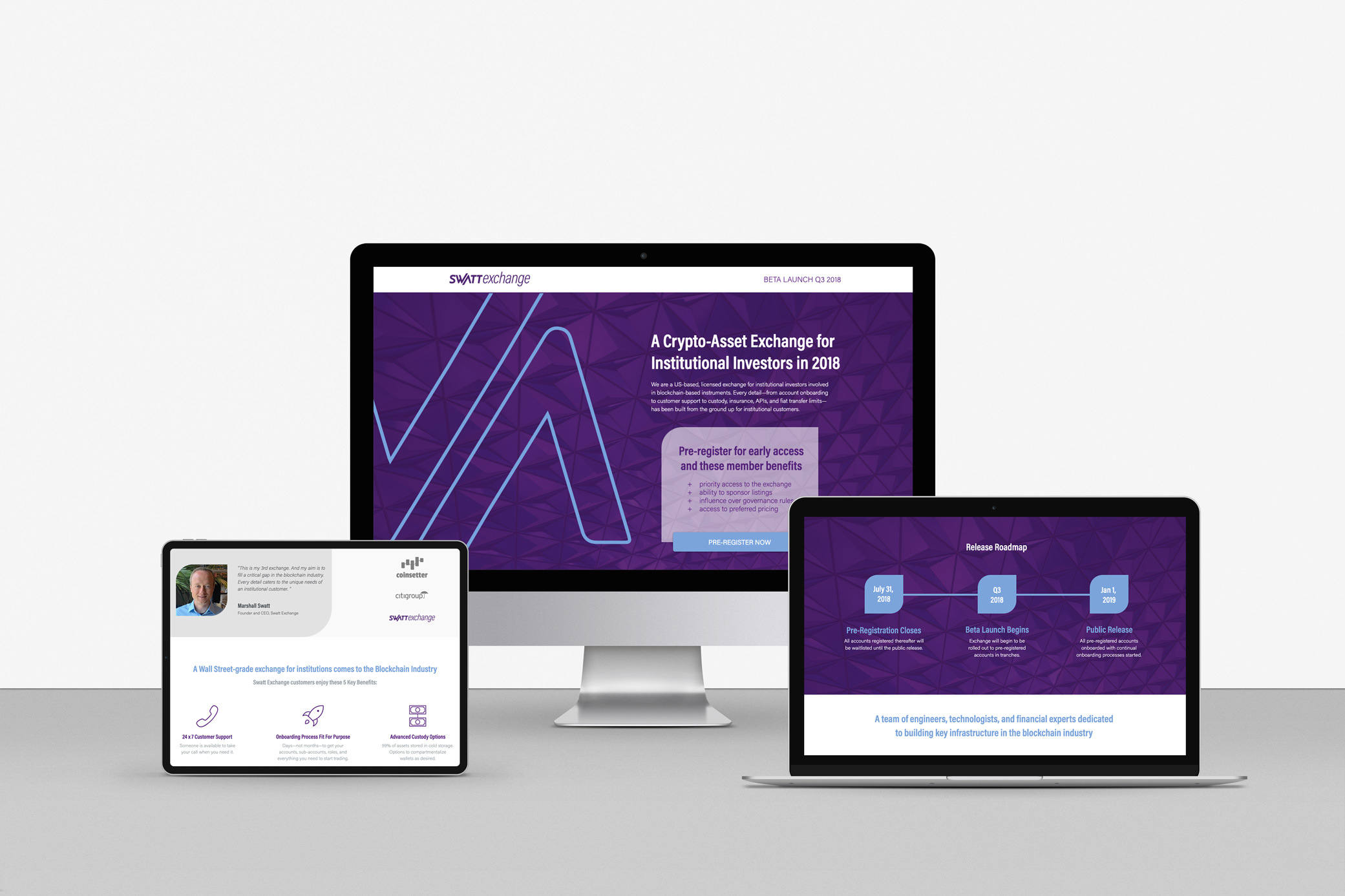 Swatt Exchange website design in vivid purple with white lettering and blue angle elements.