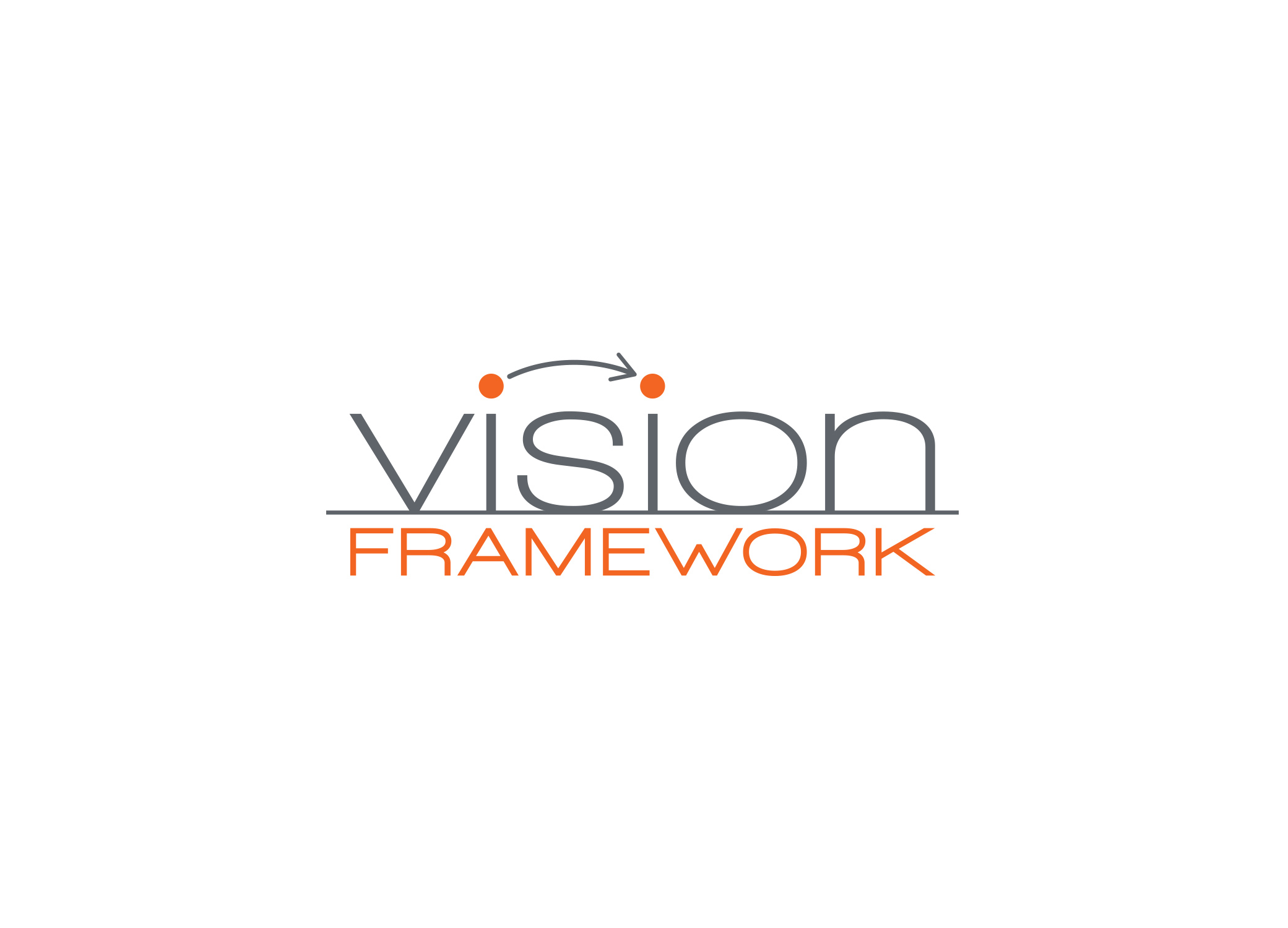 """Vision Framework grey and orange logo design with arrow connecting the dots above each """"I"""" in Vision."""