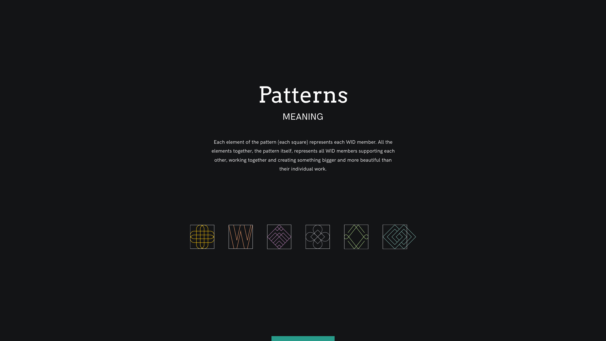 Women in Design brand presentation showcasing patterns and their meanings.