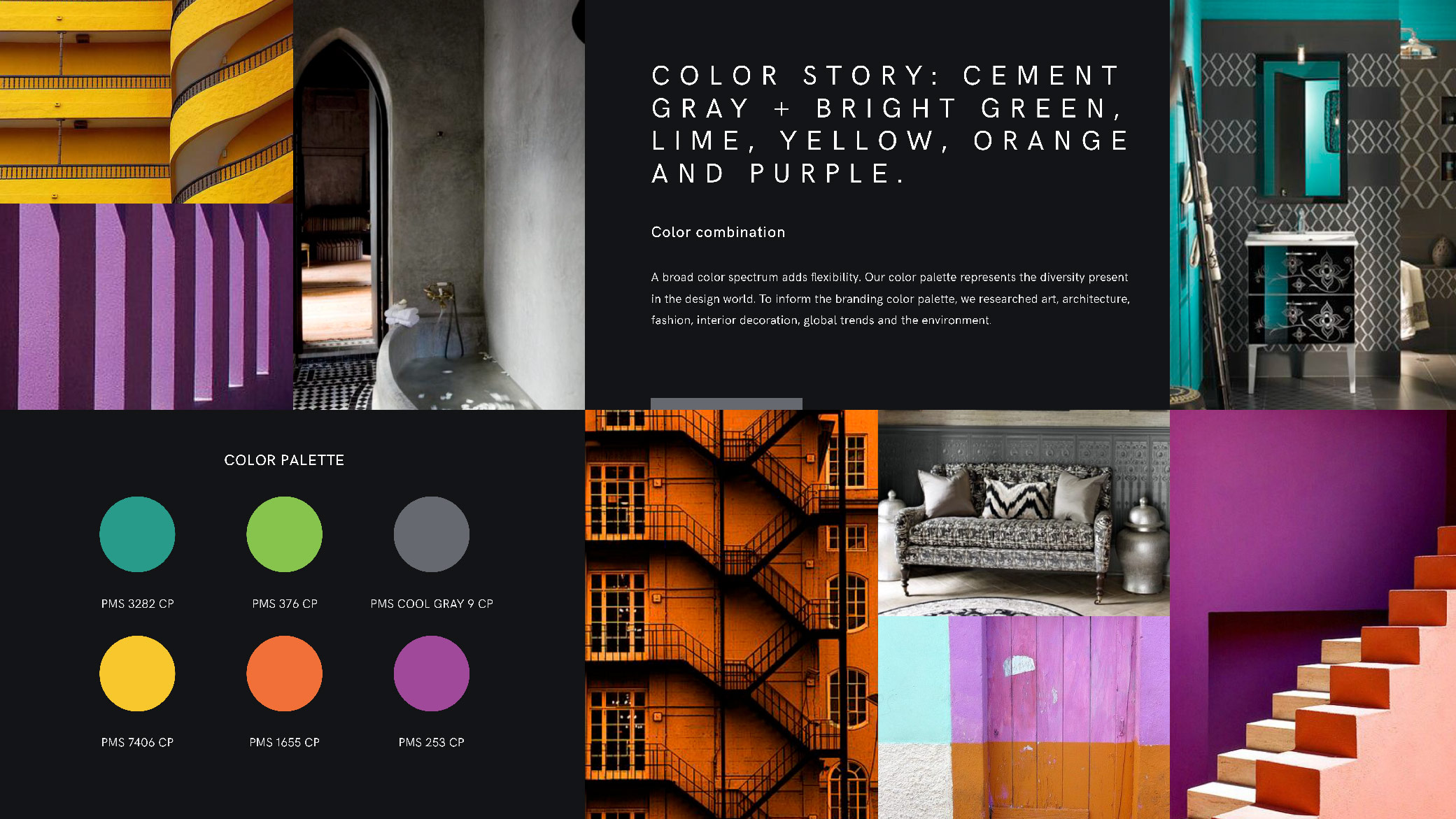 Women in Design brand presentation showcasing color story and palette of yellows, pink, and greens, and inspiration photos.