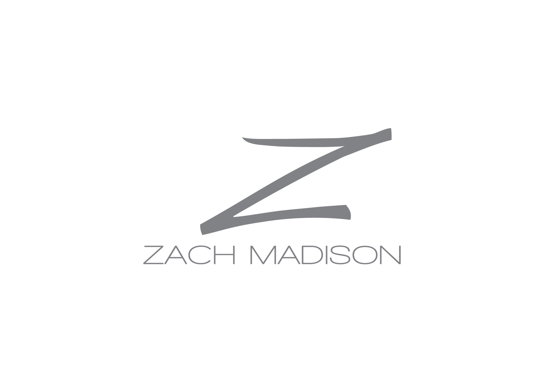 Zach Madison modern black and white logo design with large Z rendered in swift brush strokes over brand name.