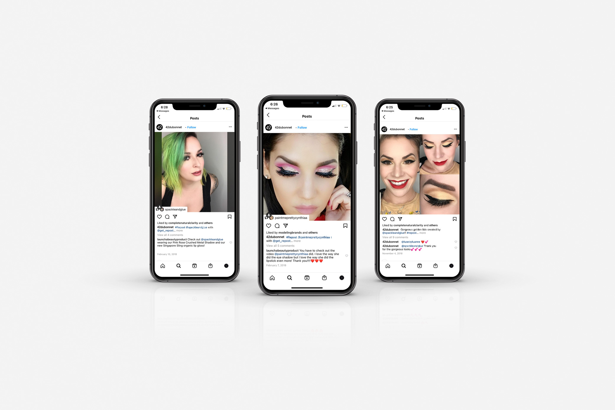 42 Dubonnet social media influencer images shown on iPhones displayed in a row against grey backdrop.