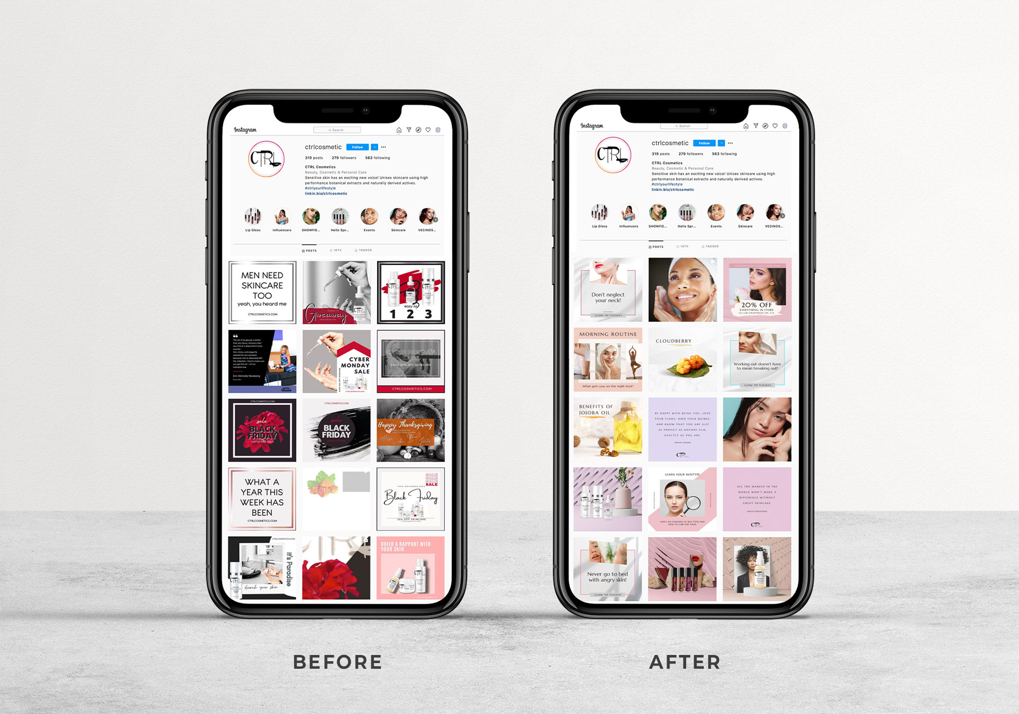 CTRL Cosmetics before and after social media marketing brand Instagram layout on iPhone.