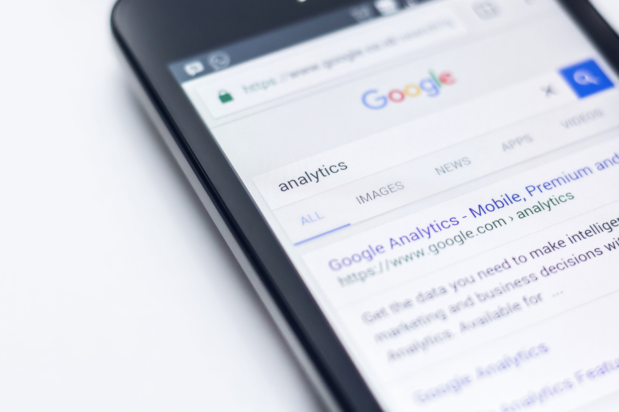 Mobile search of google analytics showing the results when searched.