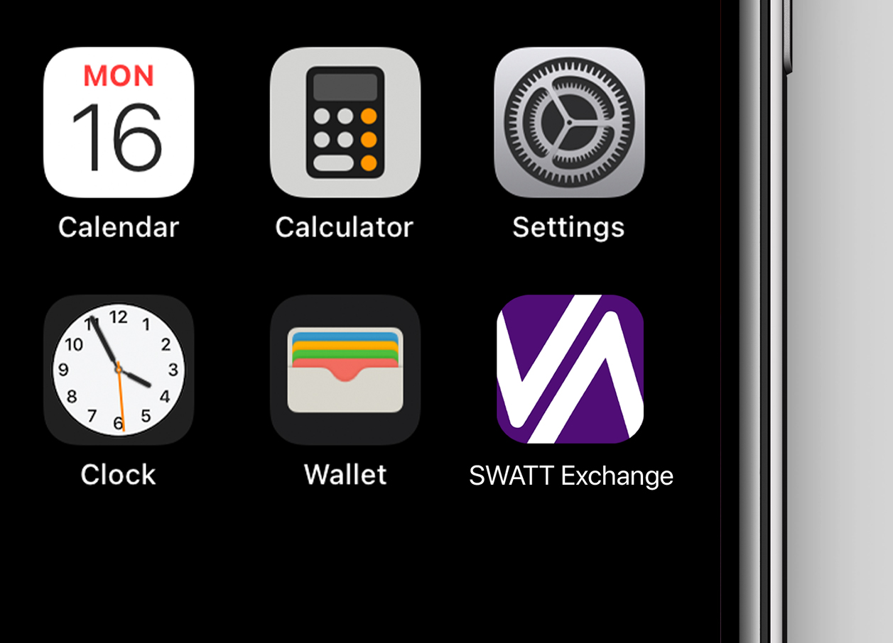 Swatt Exchange app icon in purple and white with lines from the W and A in the logo rendered like market exchange maps.