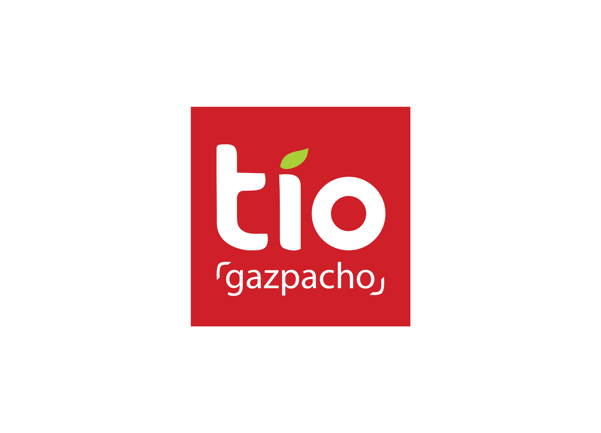 Tio Gazpacho logo design, a tomato-red square with the brand name in white sans serif and a green leaf over the I in Tio.